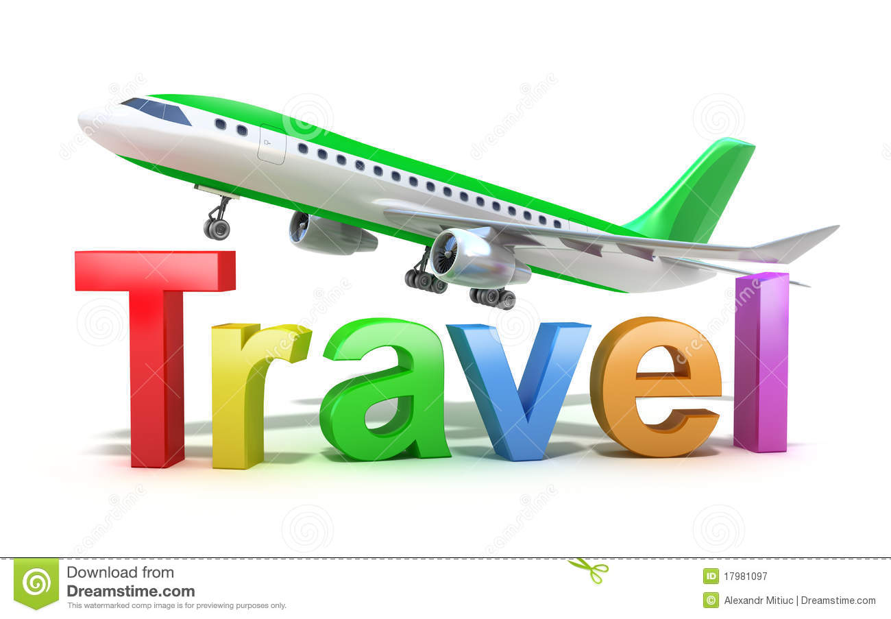 travel word concept with plane isolated on white stock illustration