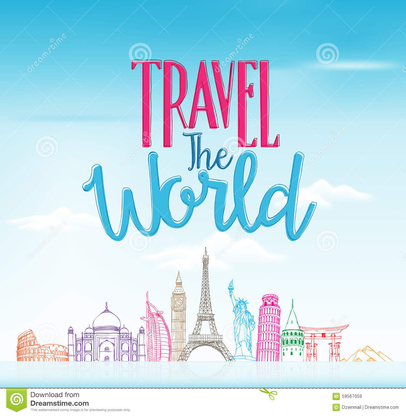Travel the world concept design background of line drawing stock travel the world concept design background of line drawing journey hand kristyandbryce Gallery