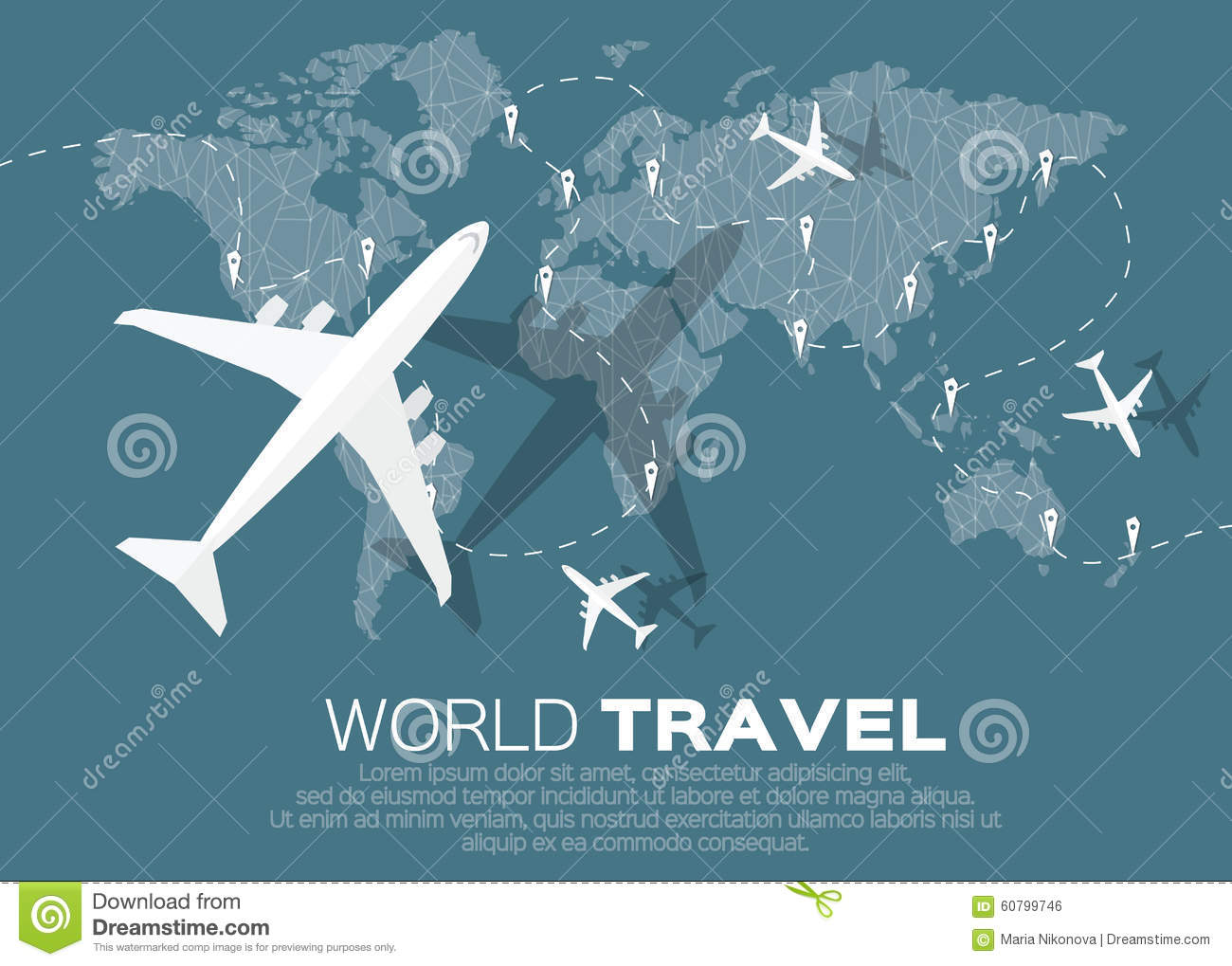 Travel World Map Stock Vector. Illustration Of Graphic