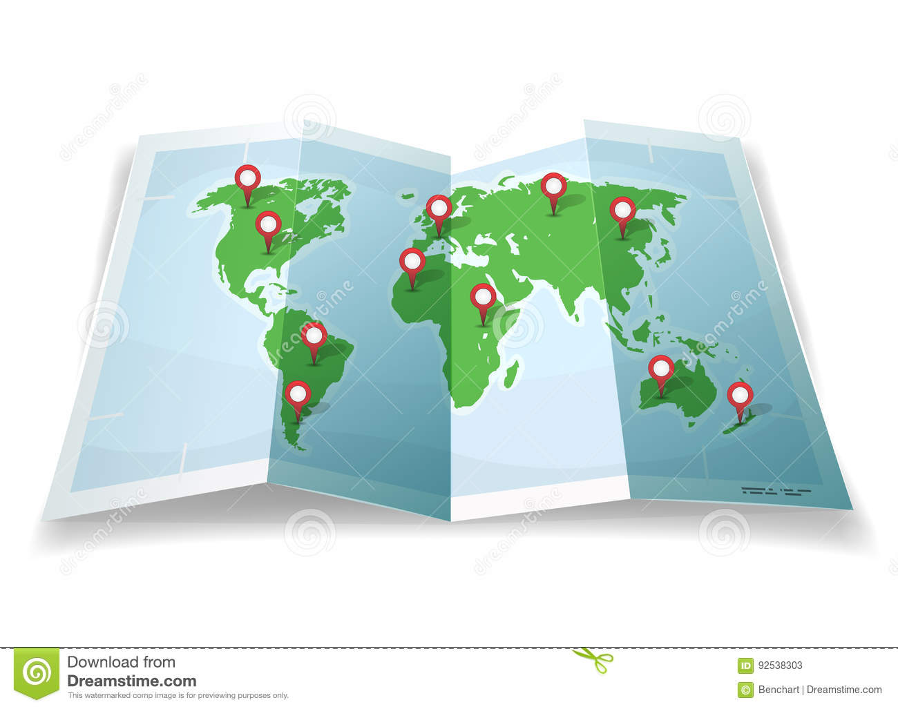 Travel world map with gps pins stock vector illustration of download comp gumiabroncs Image collections