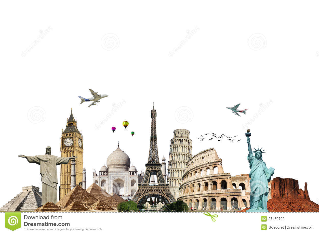 Travel the world monument concept stock illustration for All inclusive around the world trip