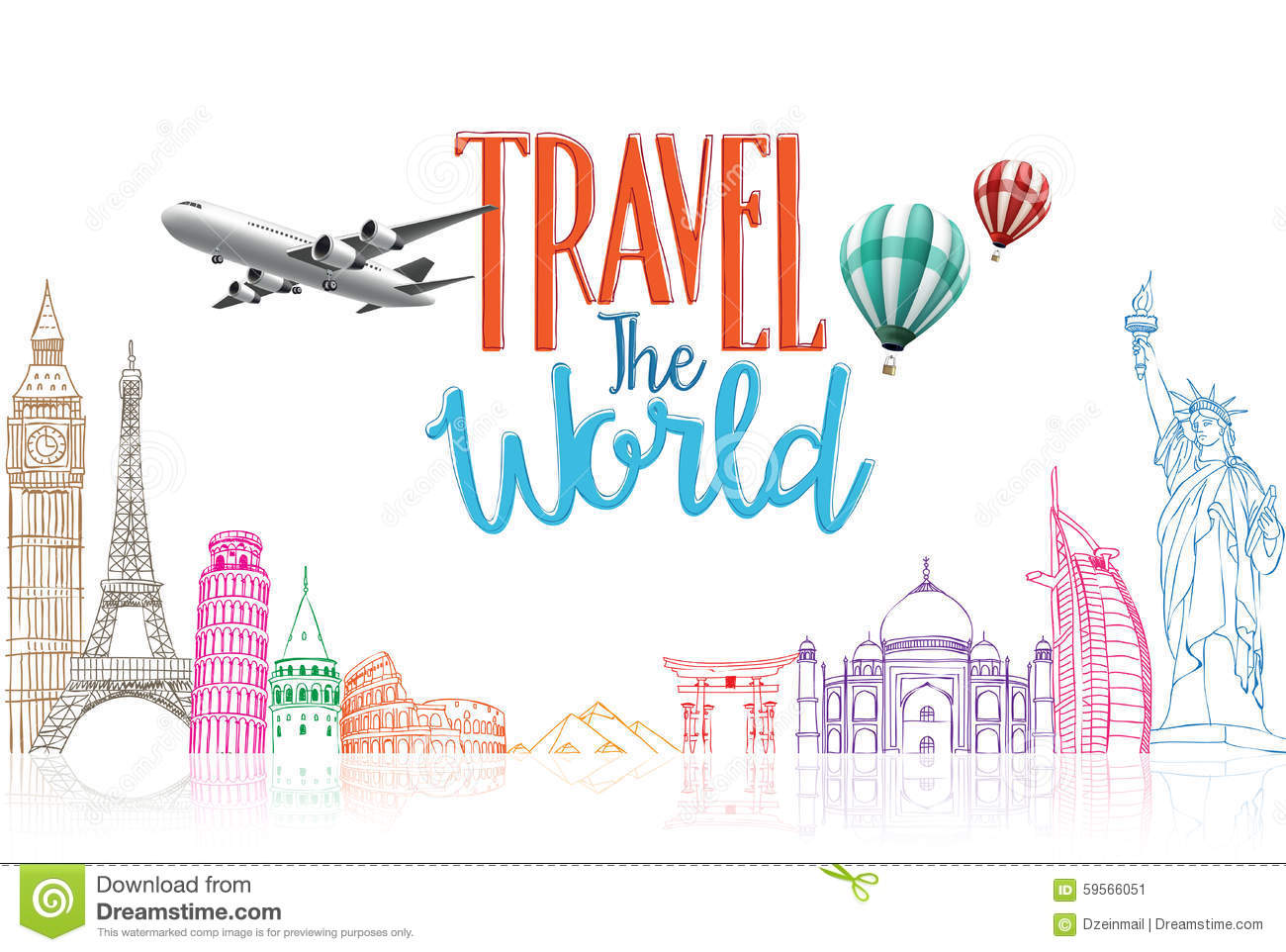 travel the world title concept design background of line drawing