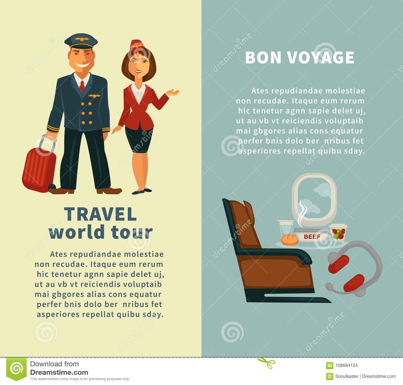 travel world tour and bon voyage vertical posters stock vector