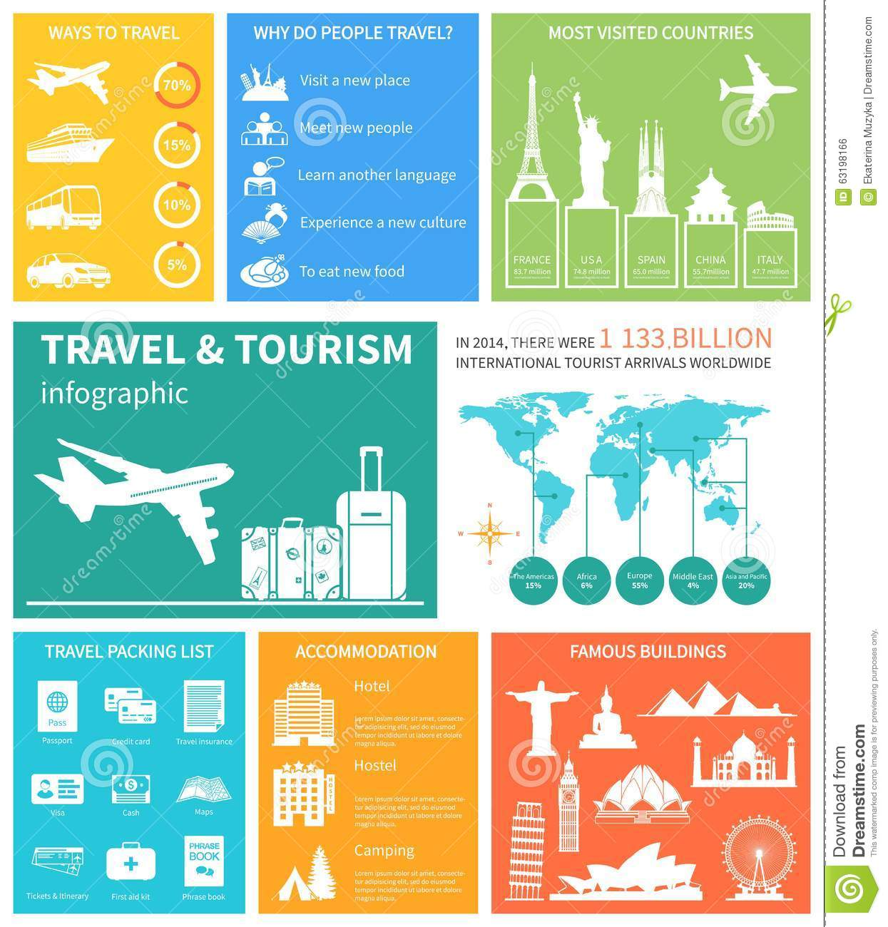 Tourism infographic elements set with world map travel travel and world tourism infographic vector royalty free stock image gumiabroncs Choice Image