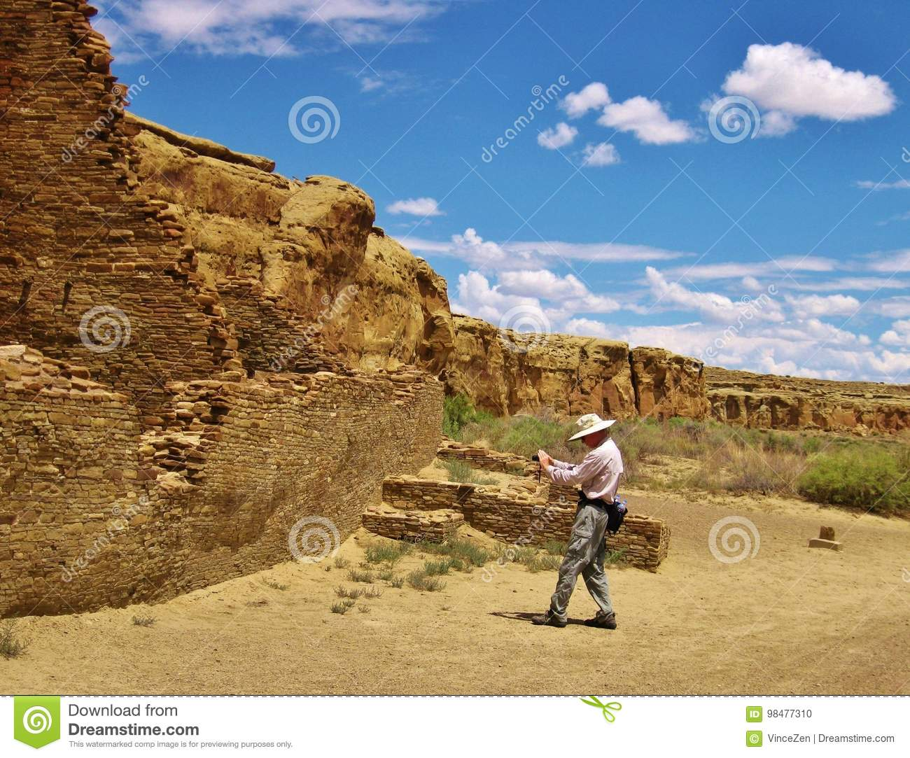 Travel writer and photographer at work in New Mexico desert