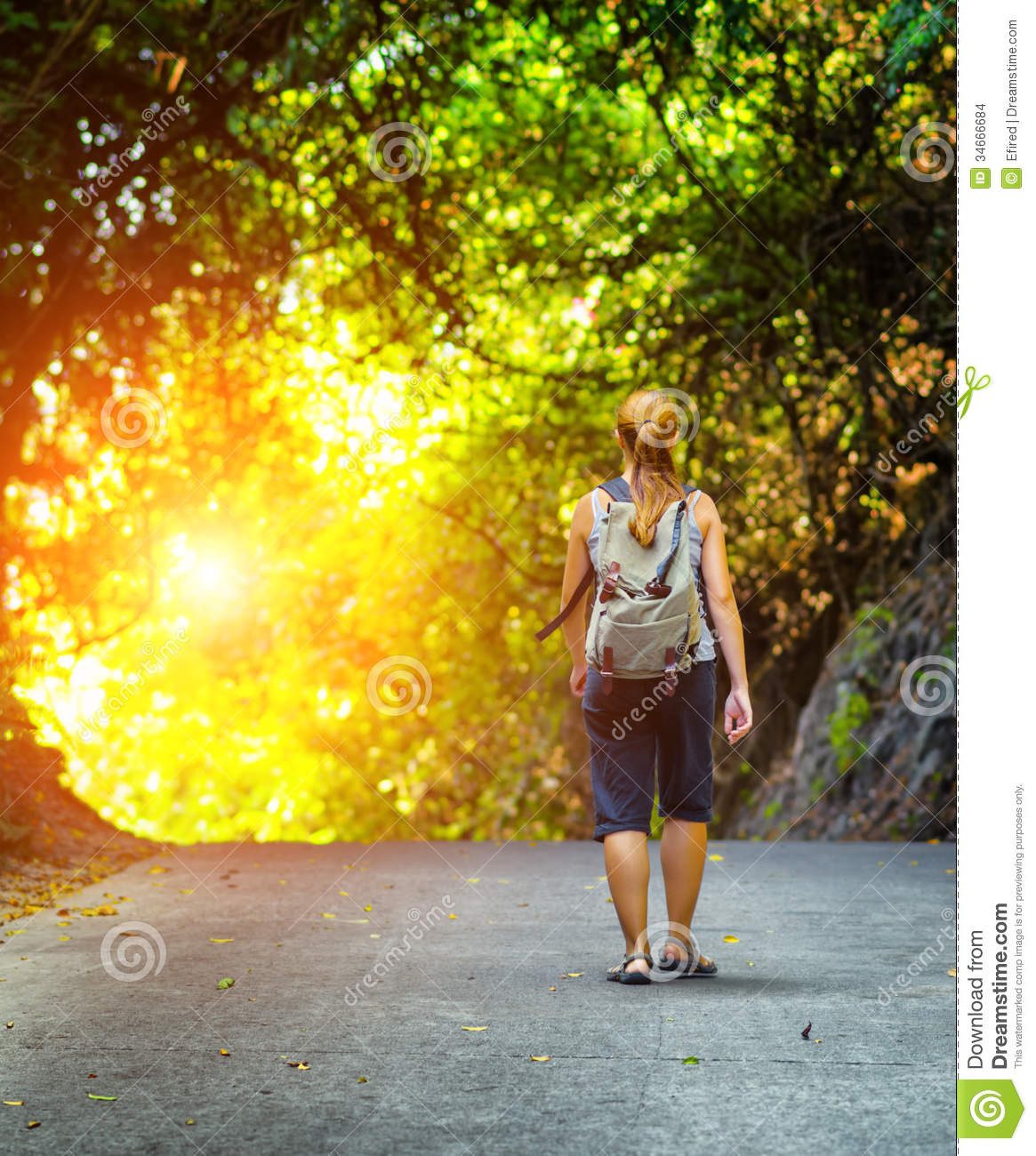 Young Woman Hiking With Backpack Stock Images - Image: 34666684