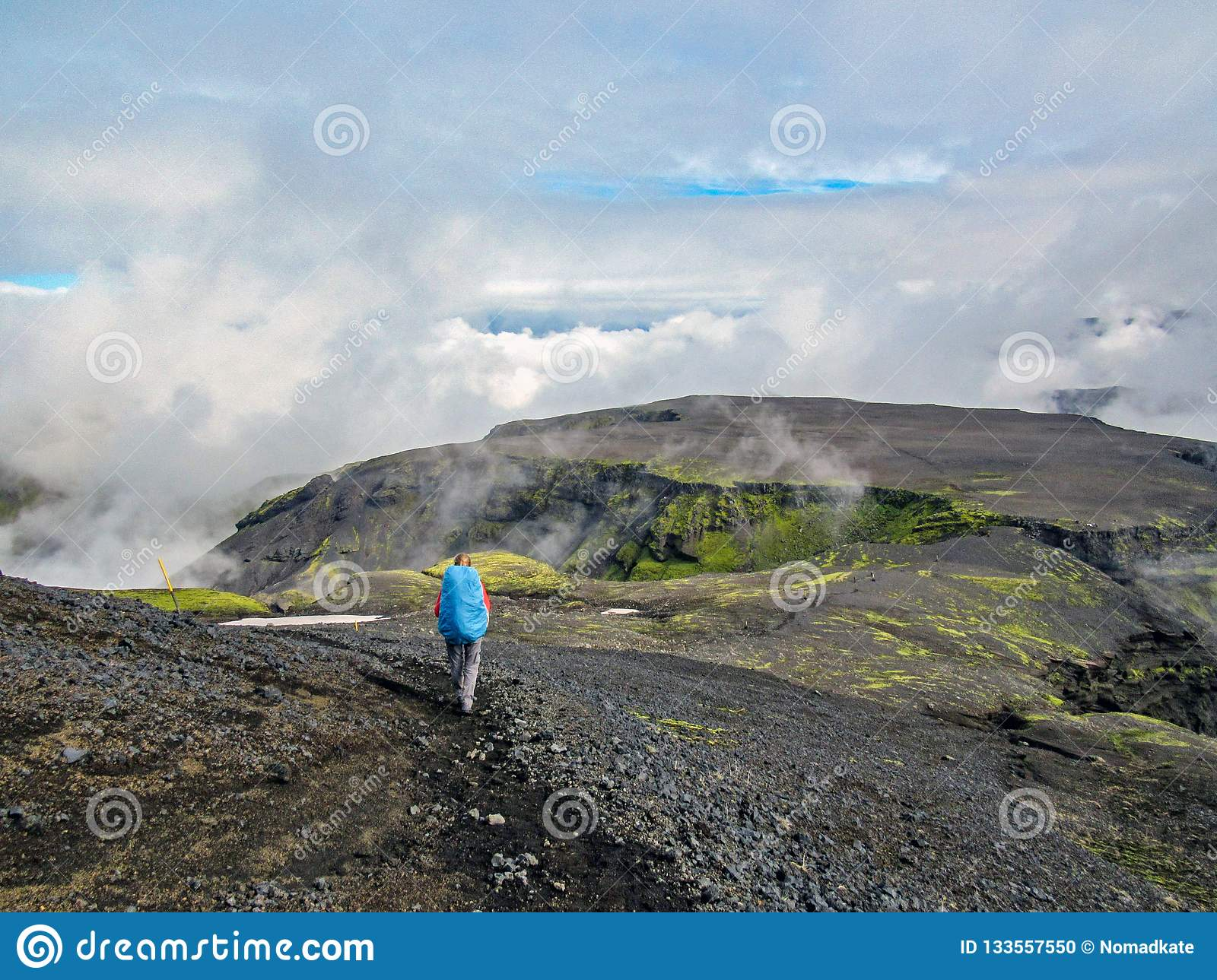 Traveler hiking women walking on road in Iceland highlands with heavy backpack Travel Lifestyle freedom concept adventure active