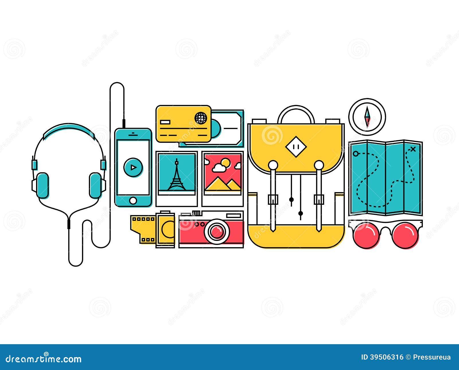 Traveler items for city trip flat line concept