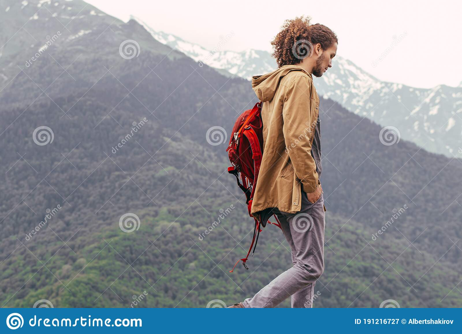 Traveler With Red Backpack Walking On Mountain Travel Lifestyle Adventure Vacations Freedom Concept Stock Image Image Of Concept Journey 191216727