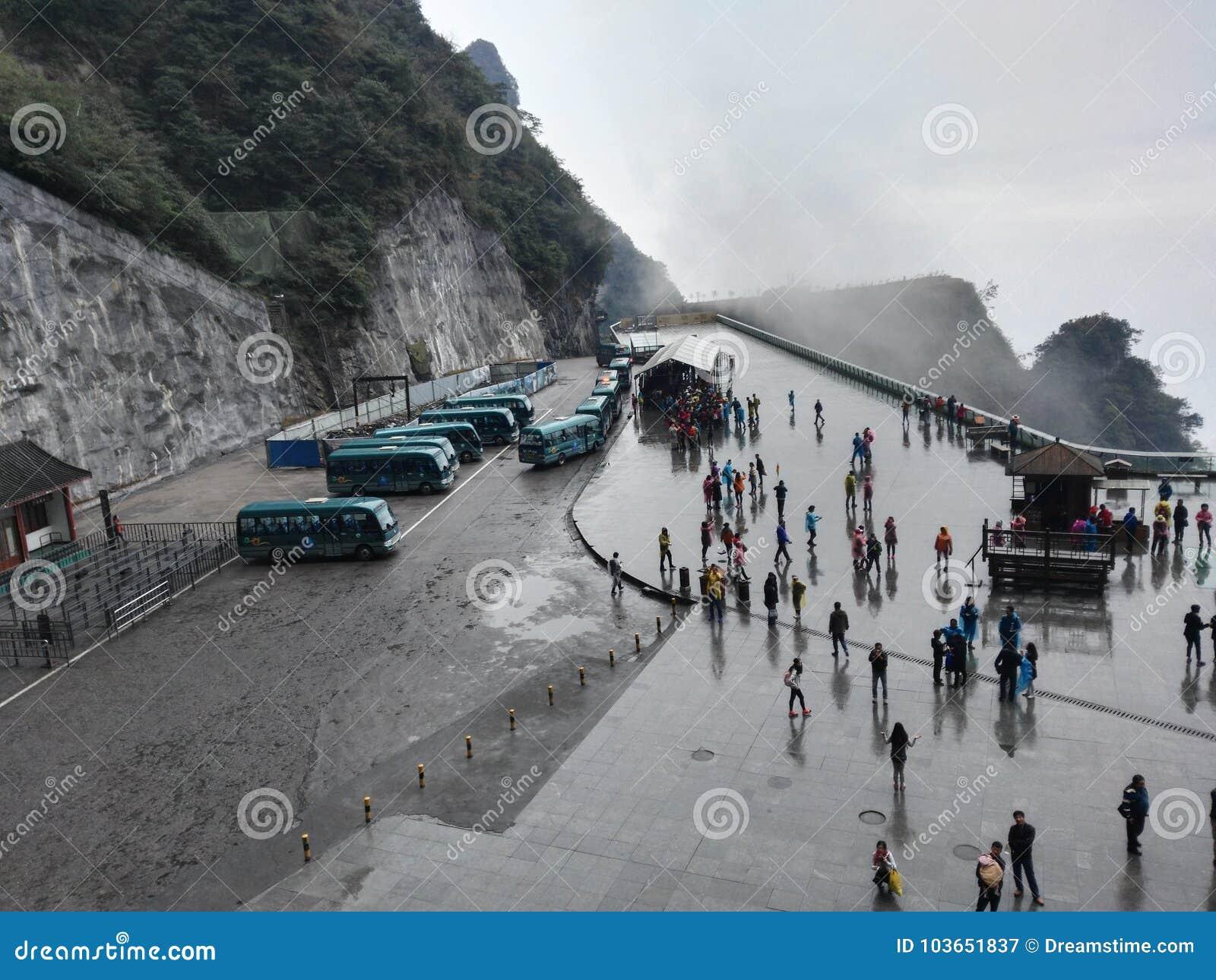 Chinese Hunan Zhangjiajie Tianmenshan Mountain parking lot hillside