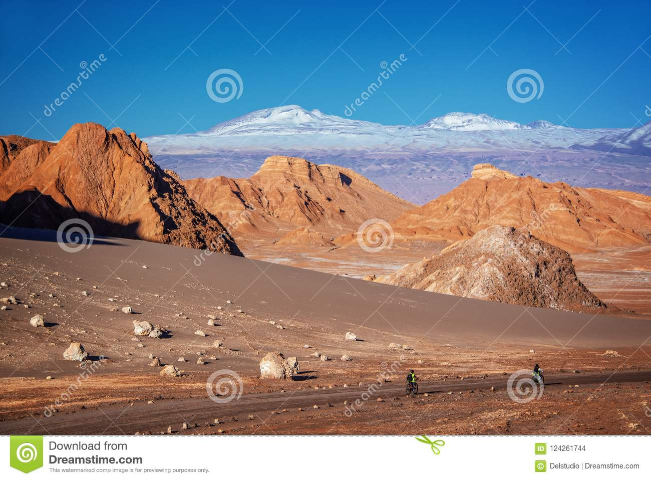 Image of: Image Travelers With Bicycles On Track In Moon Valley Atacama Desert Andes Mountain Range Dreamstimecom Travelers With Bicycles On Track In Moon Valley Atacama Desert