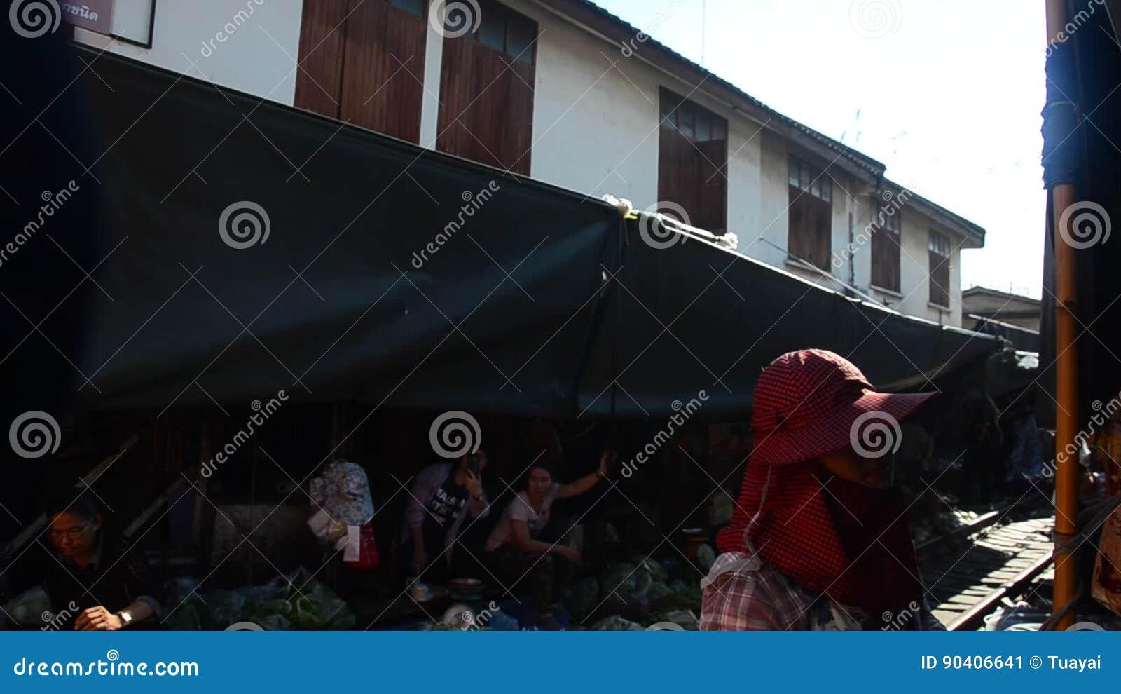 Travelers People Visit And Looking Mae Klong Railway Market