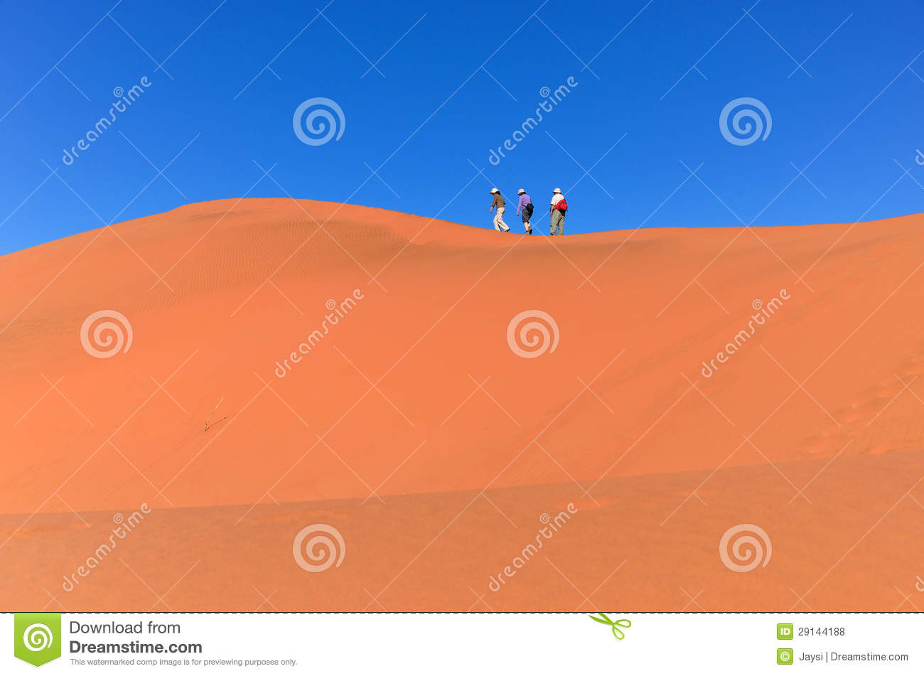 Traveling in Africa, people on dune