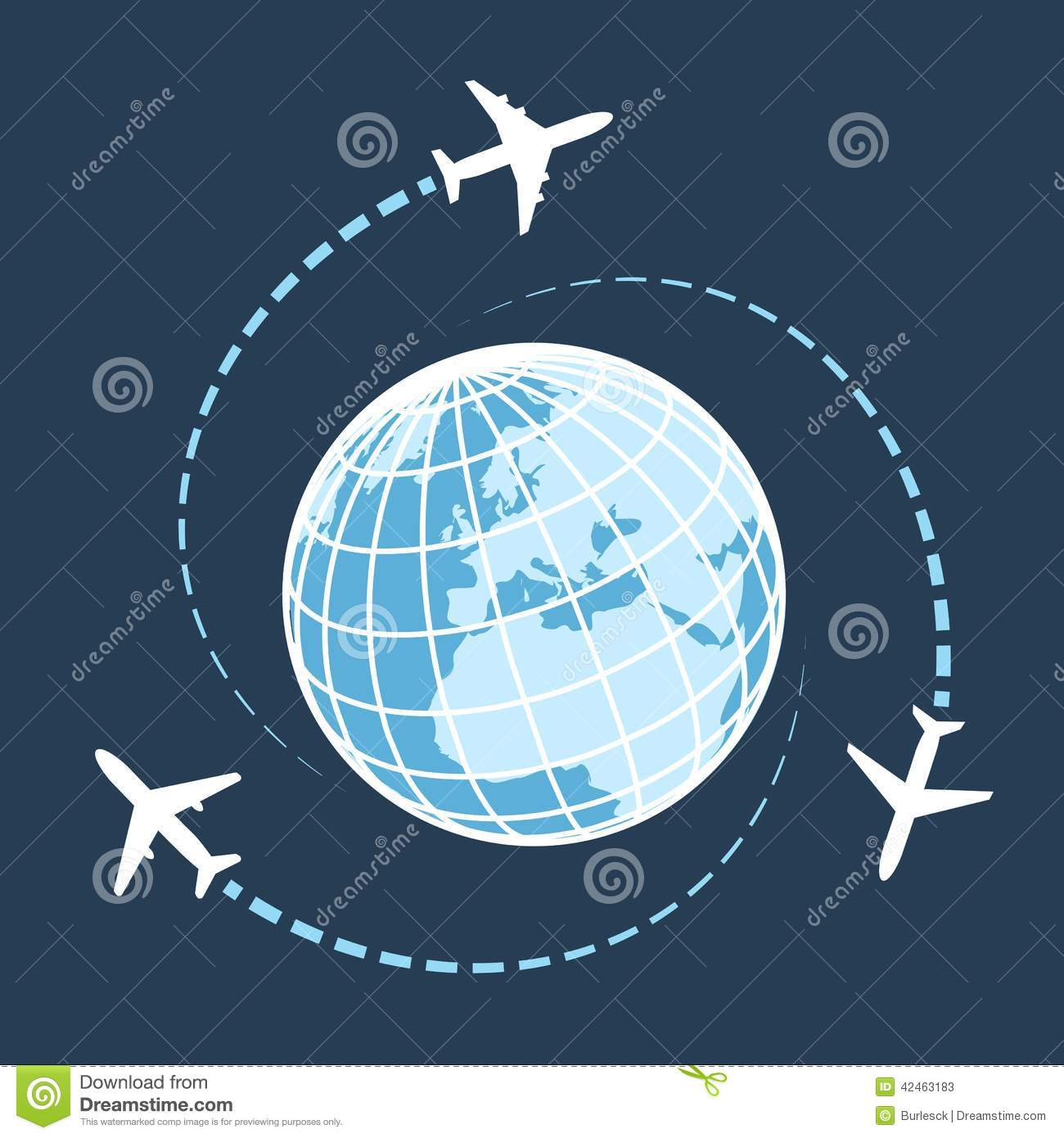 Traveling Around The World By Air Transport Stock Vector - Image ...