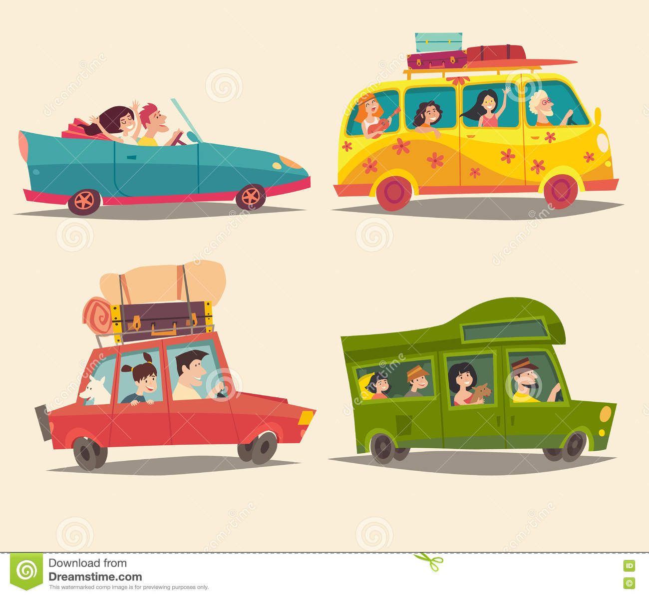 Traveling by car, Cabriolet, Van and Trailer with happy people. Summer vacation, tourism, family trip