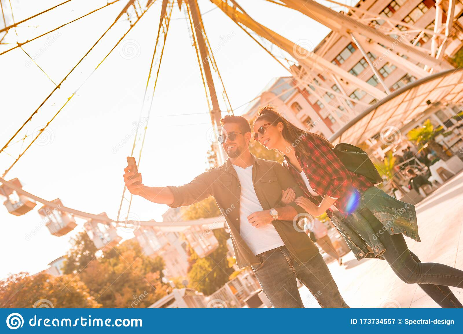 A Traveling Couple Taking A Selfie At A Ferris Wheel Stock Image Image Of Horizontal Memory 173734557