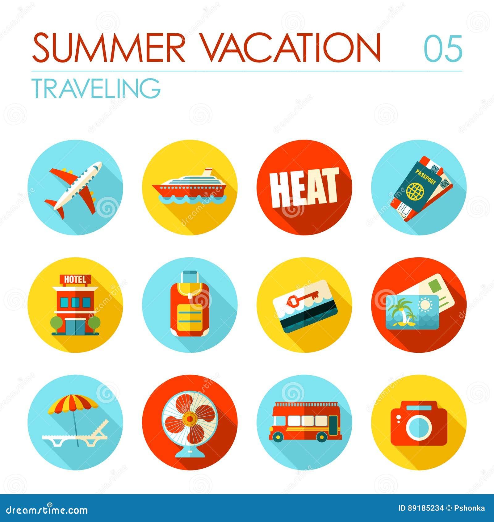 Traveling flat icon set. Summer. Vacation