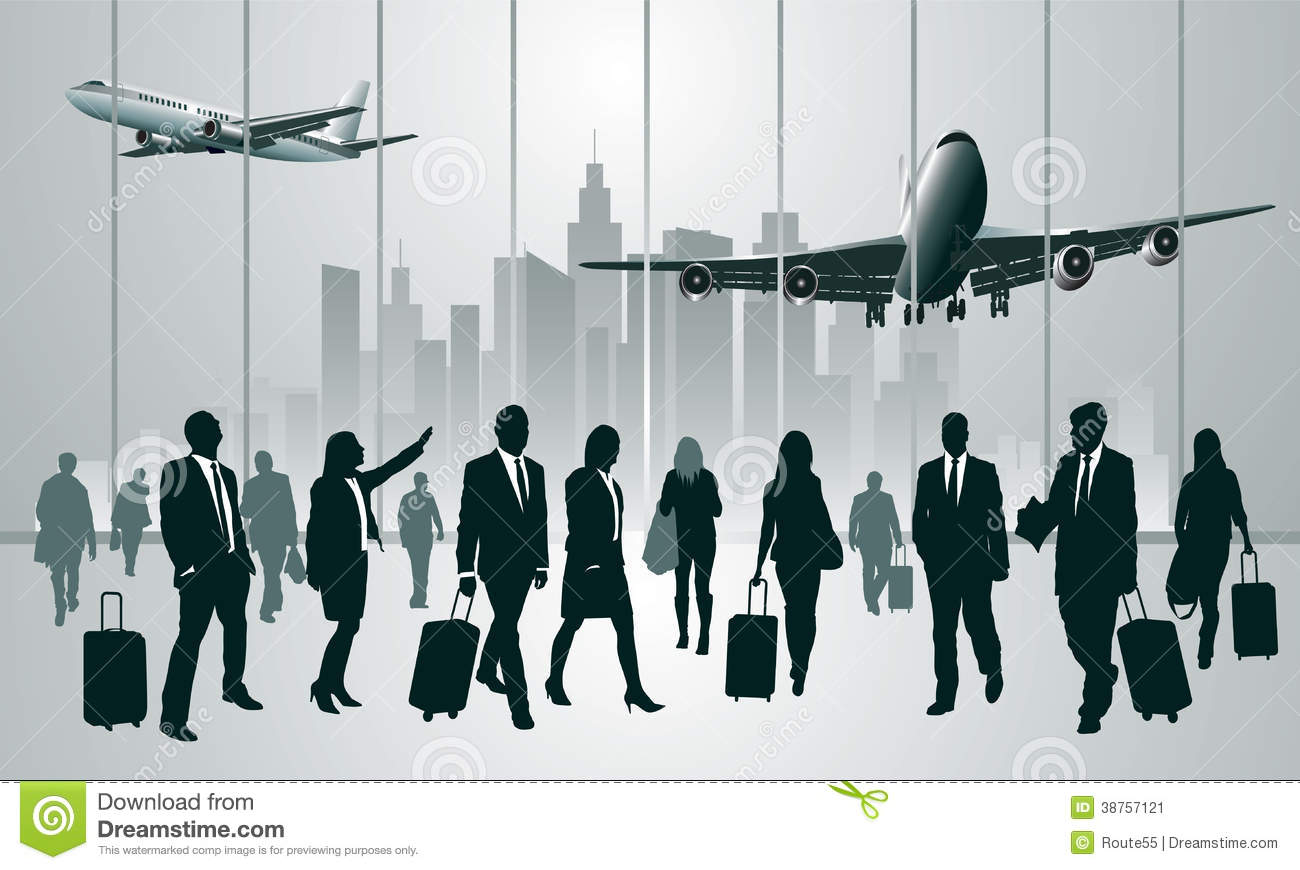 Business Travelers In The Airport Terminal Vector Illustration