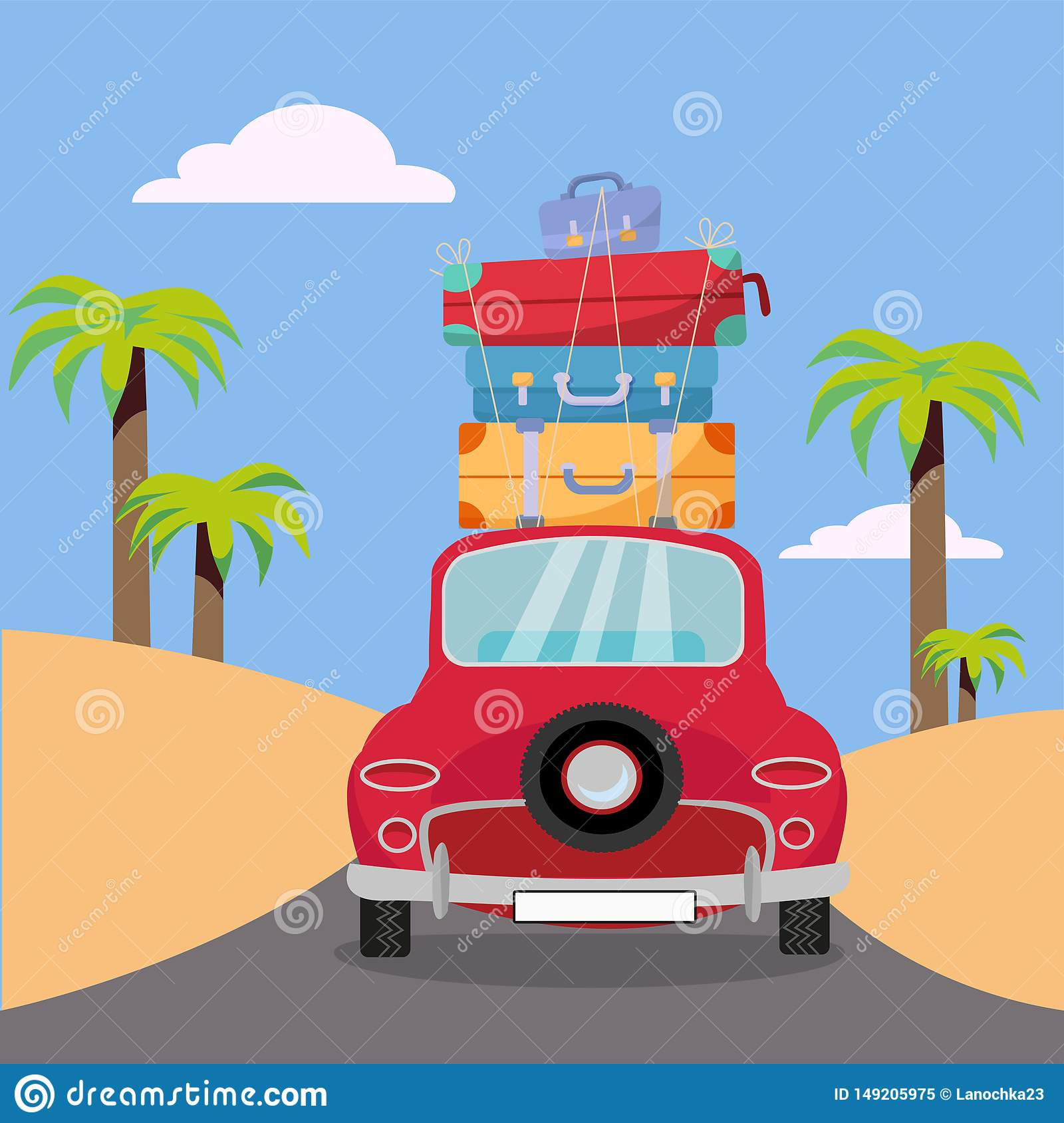 Traveling by red car with stack of luggage bags on roof near beach with palms. Summer tourism, travel, trip. Flat cartoon vector
