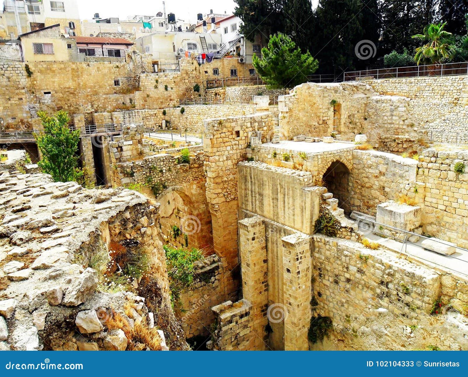 Israel, Middle East, Jerusalem, The Pool Of Bethesda Stock