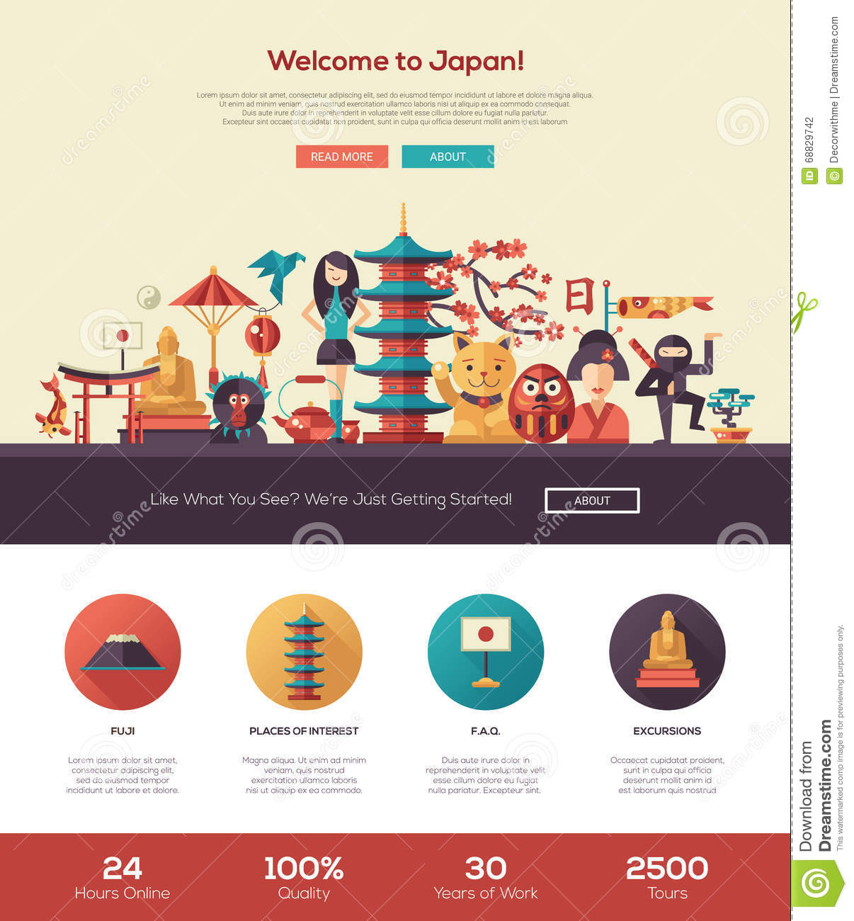Web Page Site Map Example: Japan Landmark And Travel Map. Flat Design Elements And