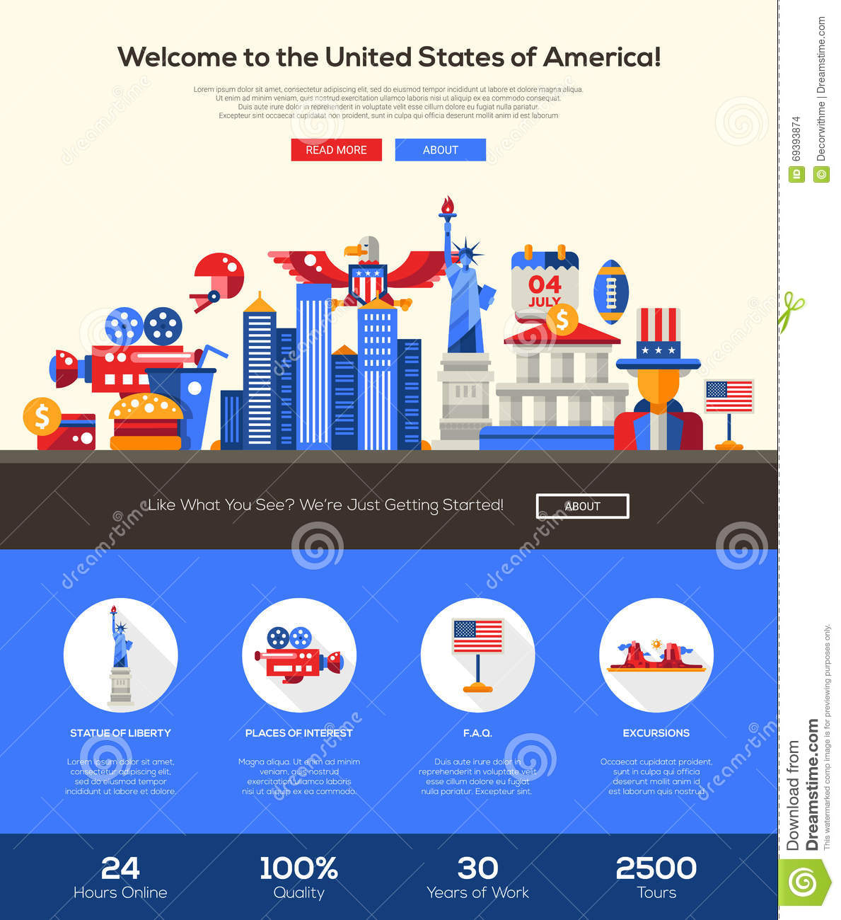 Traveling To The United States: Traveling To The USA Website Header Banner With Webdesign
