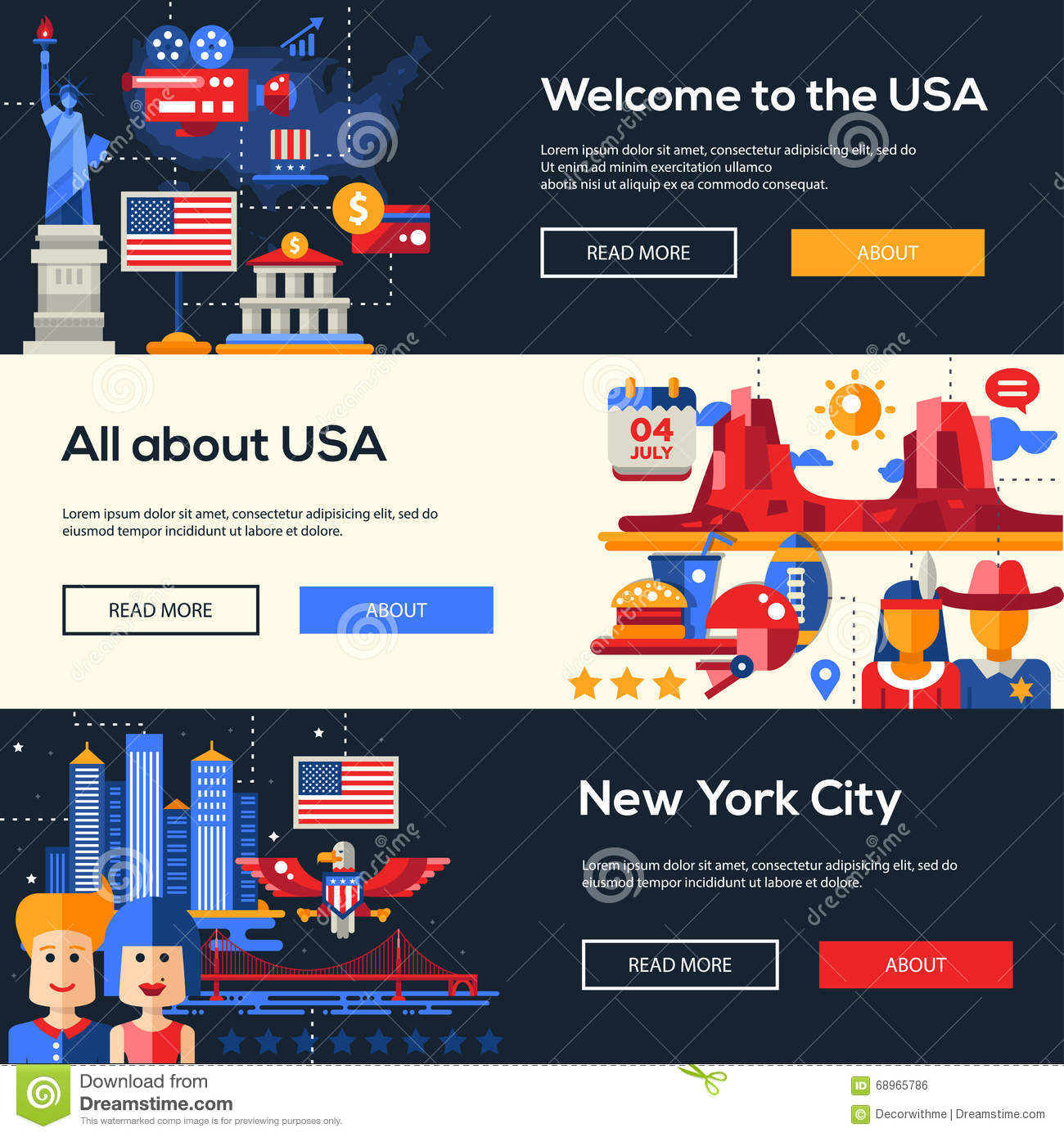 Traveling To The United States: Traveling To The USA Website Headers Banners Set Stock