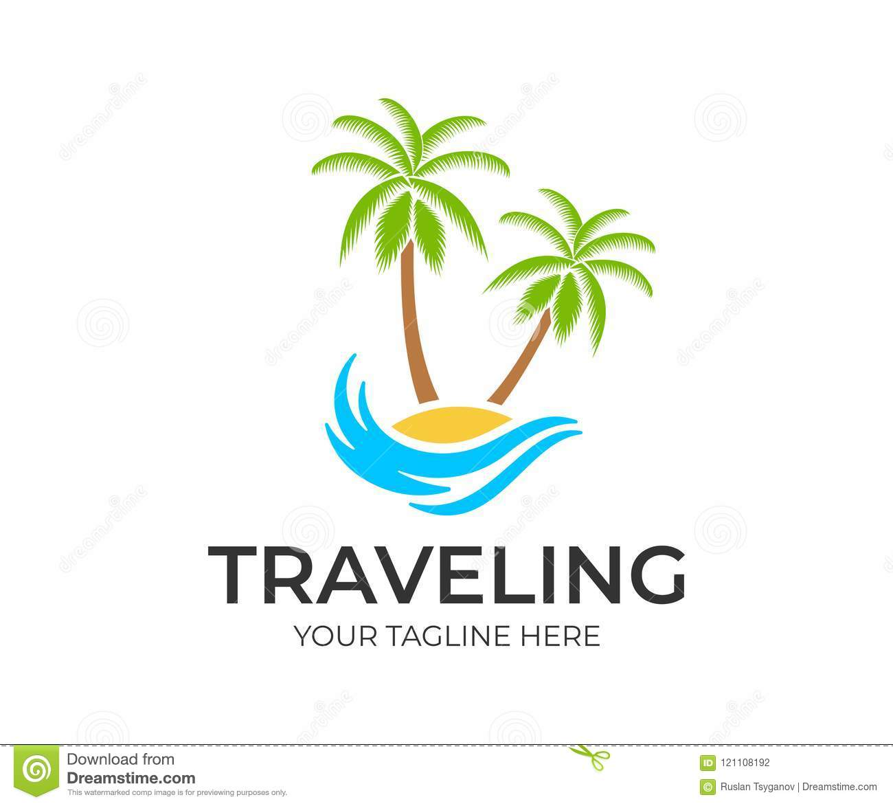 Traveling, travel, beach and palm trees on island with wave, logo template. Journey, recreation and vacation at resort and tropica