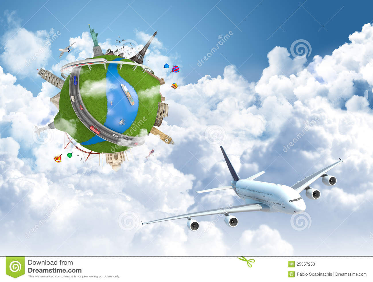 World travel globe concept with landmarks and plane flying above the ...