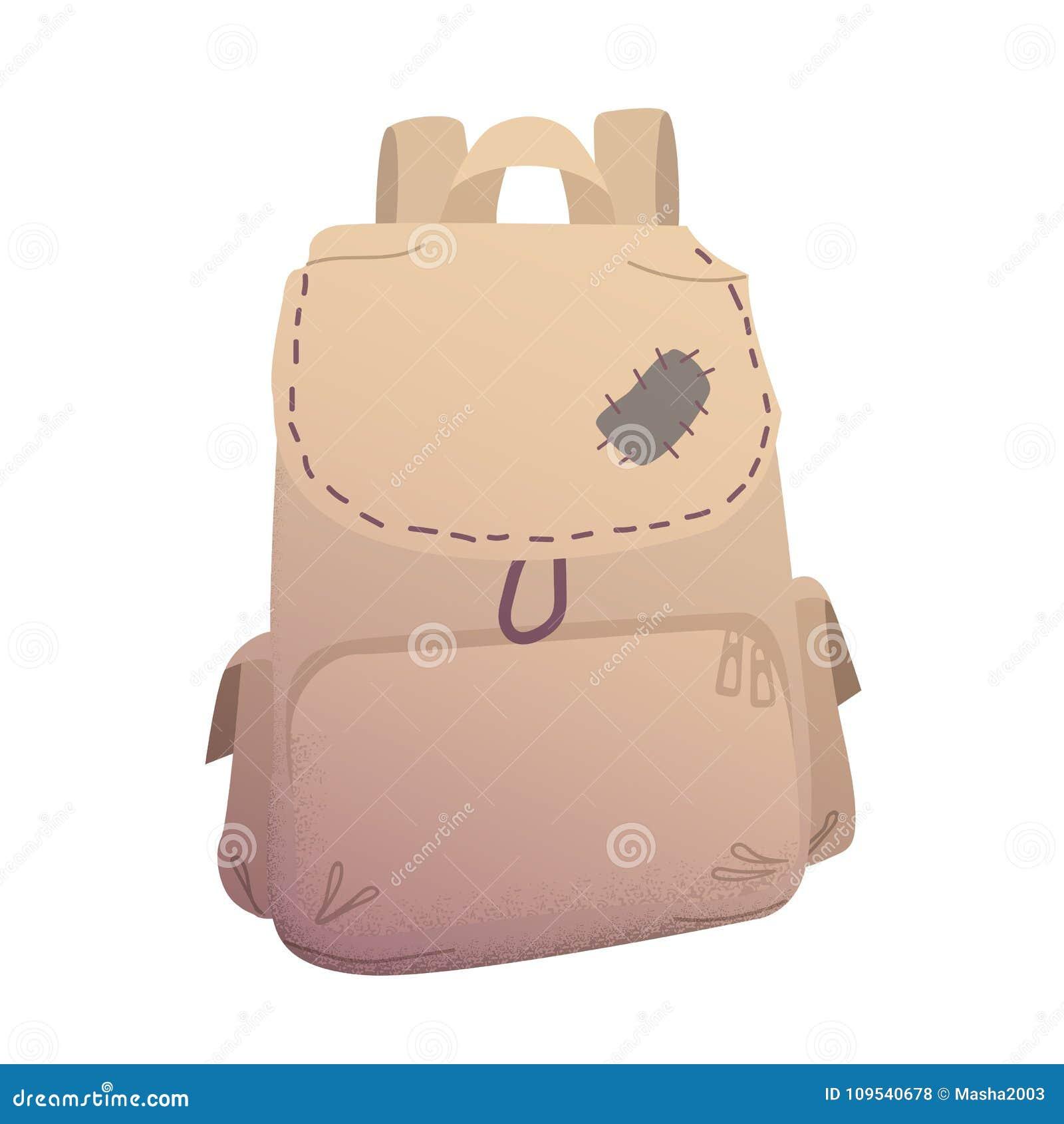 Traveller backpack in beige color illustration
