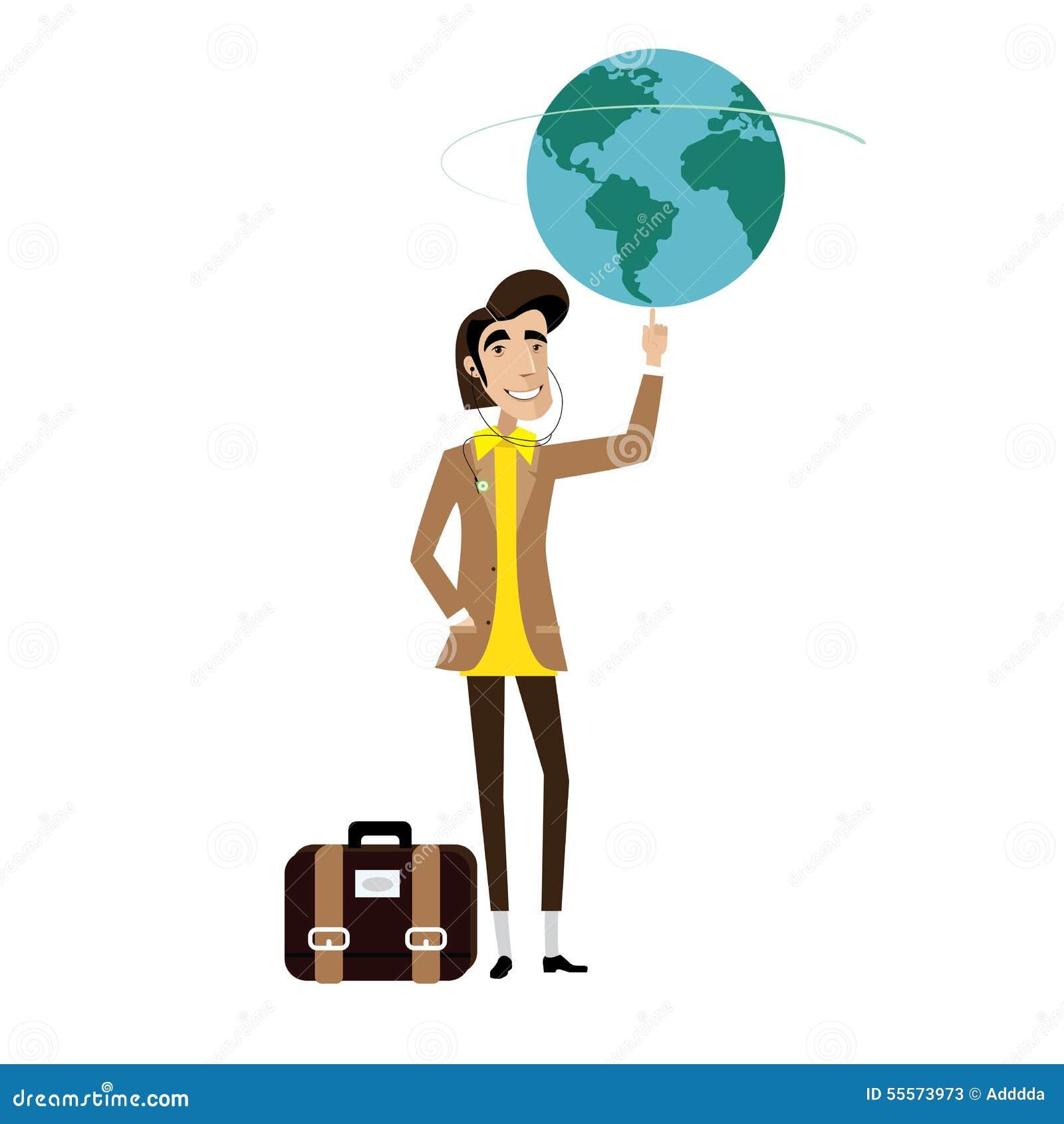 Traveller man spinning globe on finger