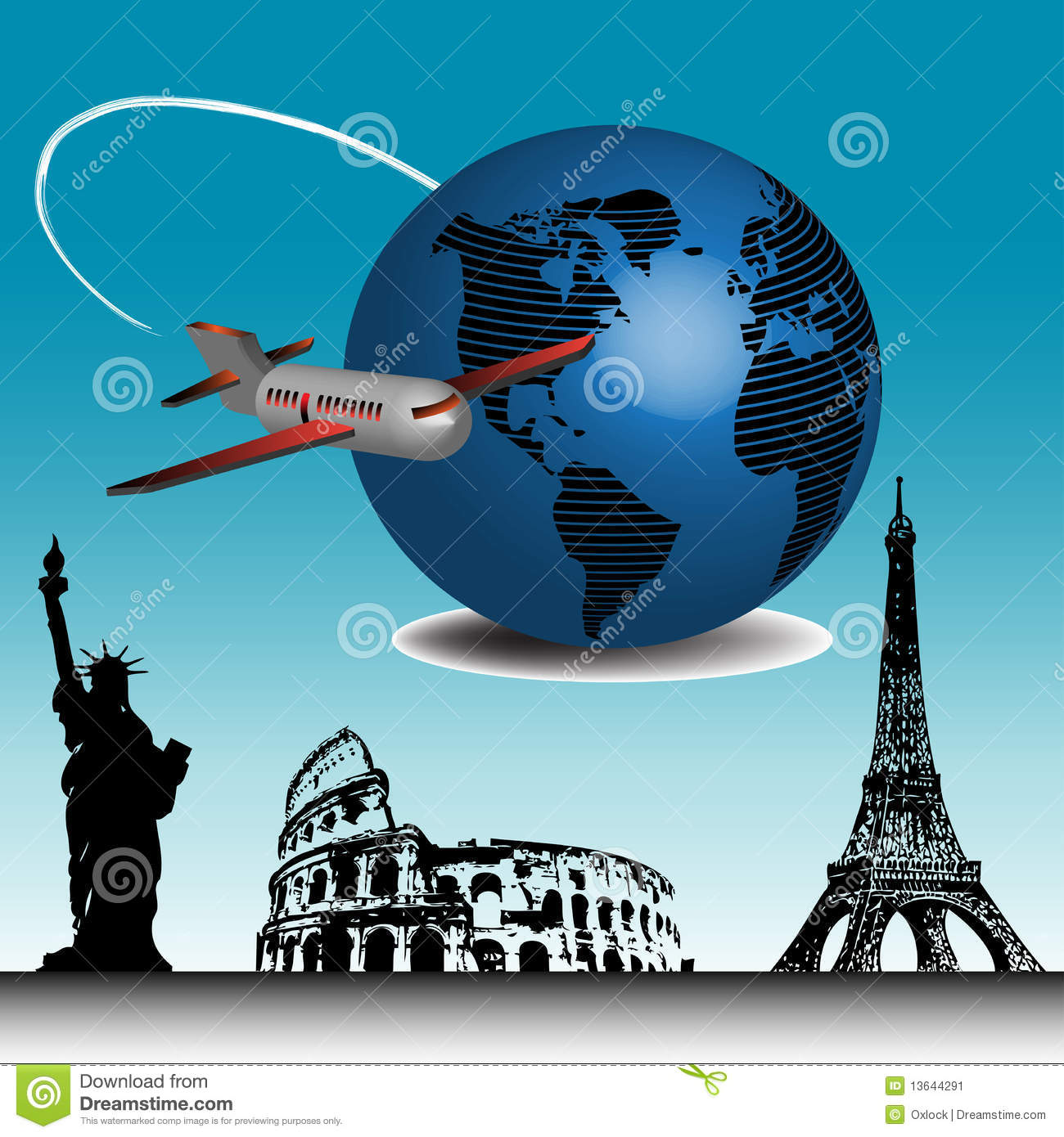 Travelling Around The World Stock Vector - Illustration of