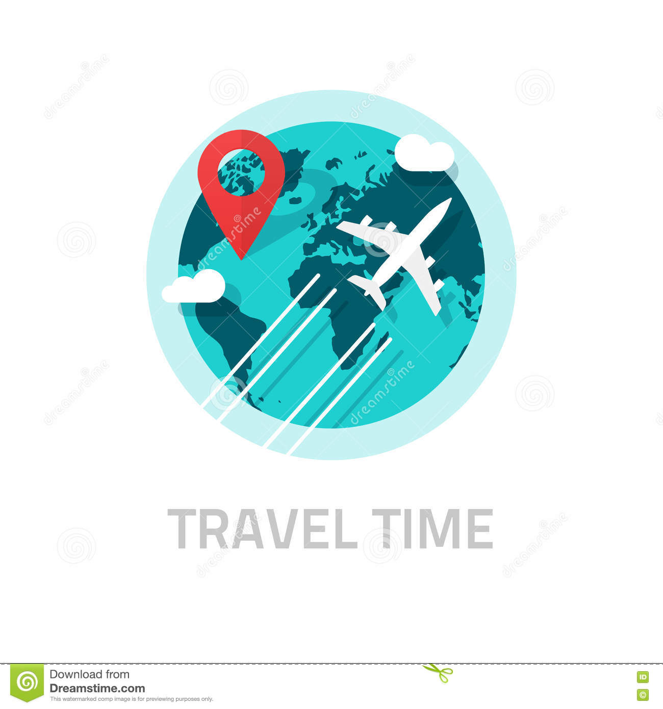 Travelling Around World By Plane Vector, Travel And Trip ...