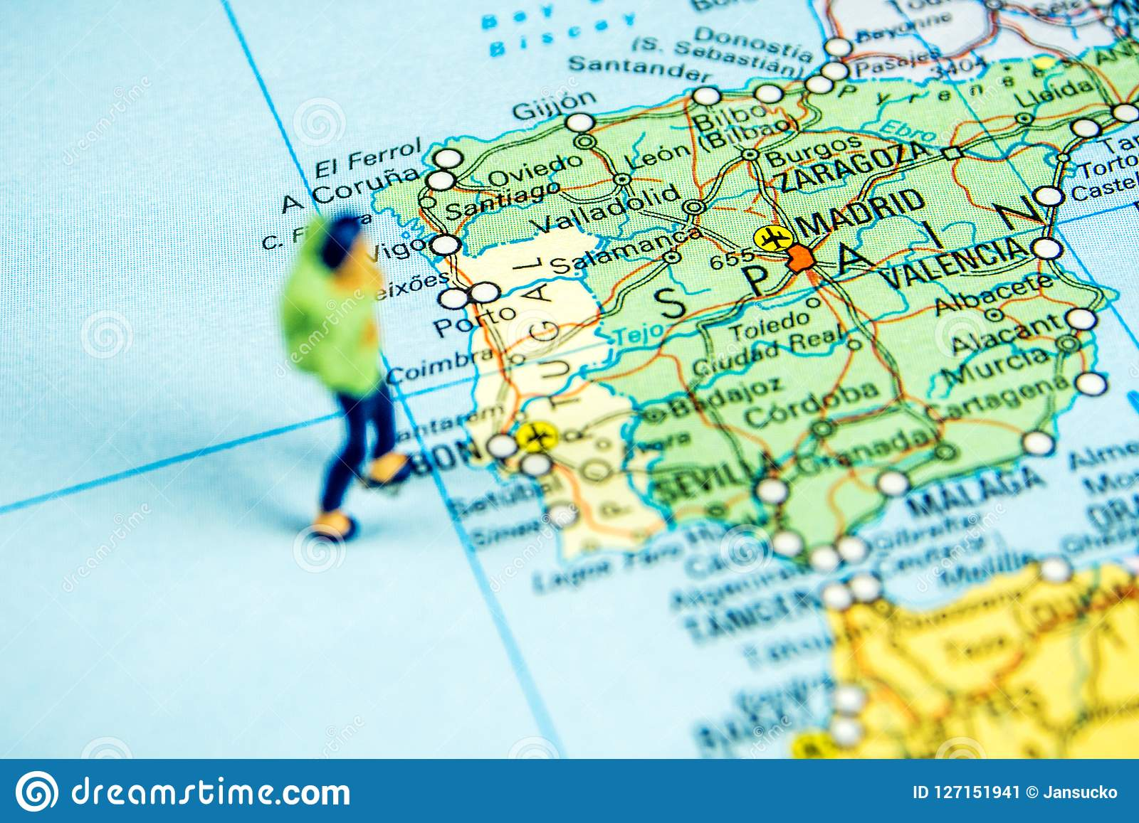 Big Map Of Spain.Travelling To Spain Stock Image Image Of Green Equipment 127151941