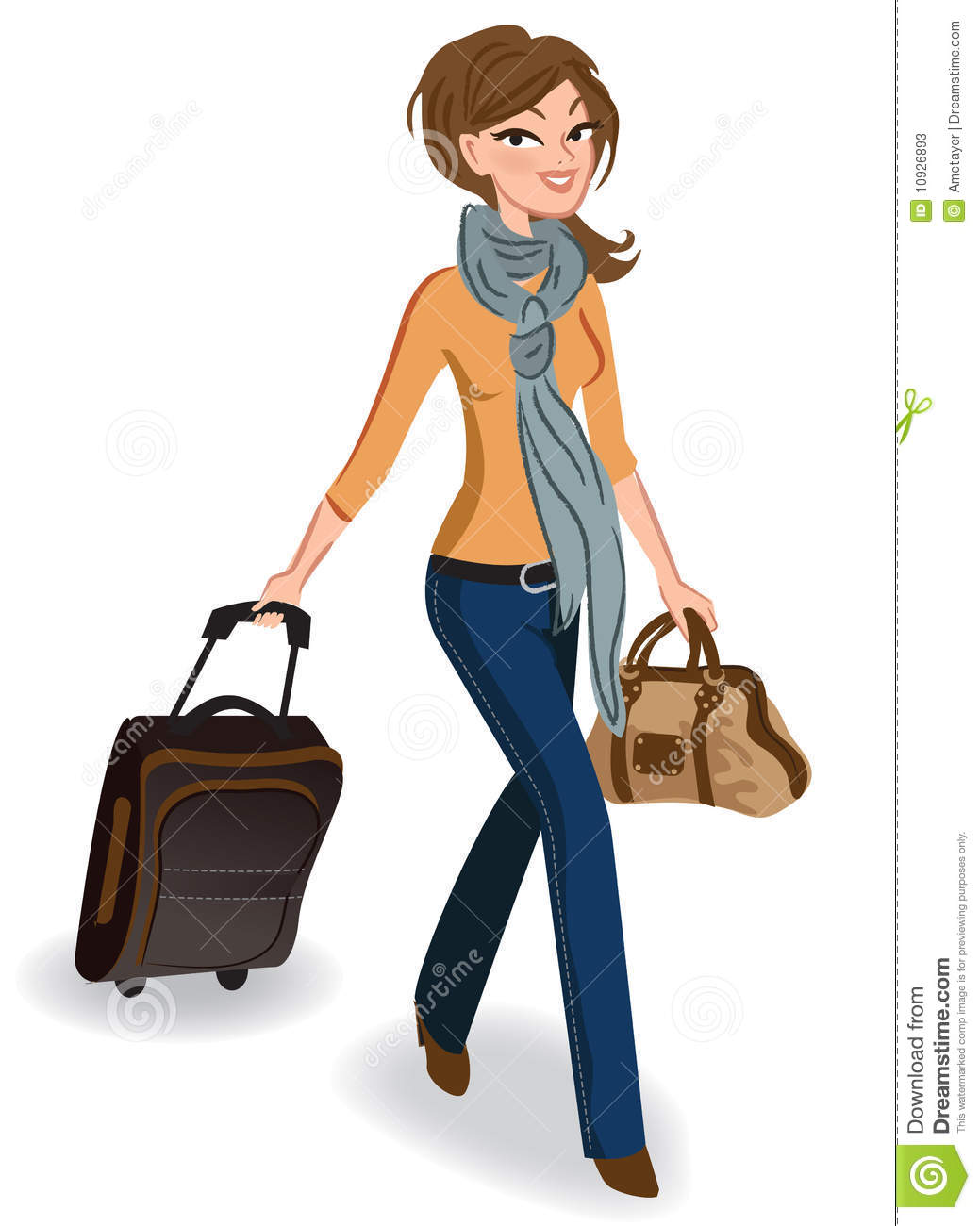 Travelling woman stock vector. Image of beauty, girl ...