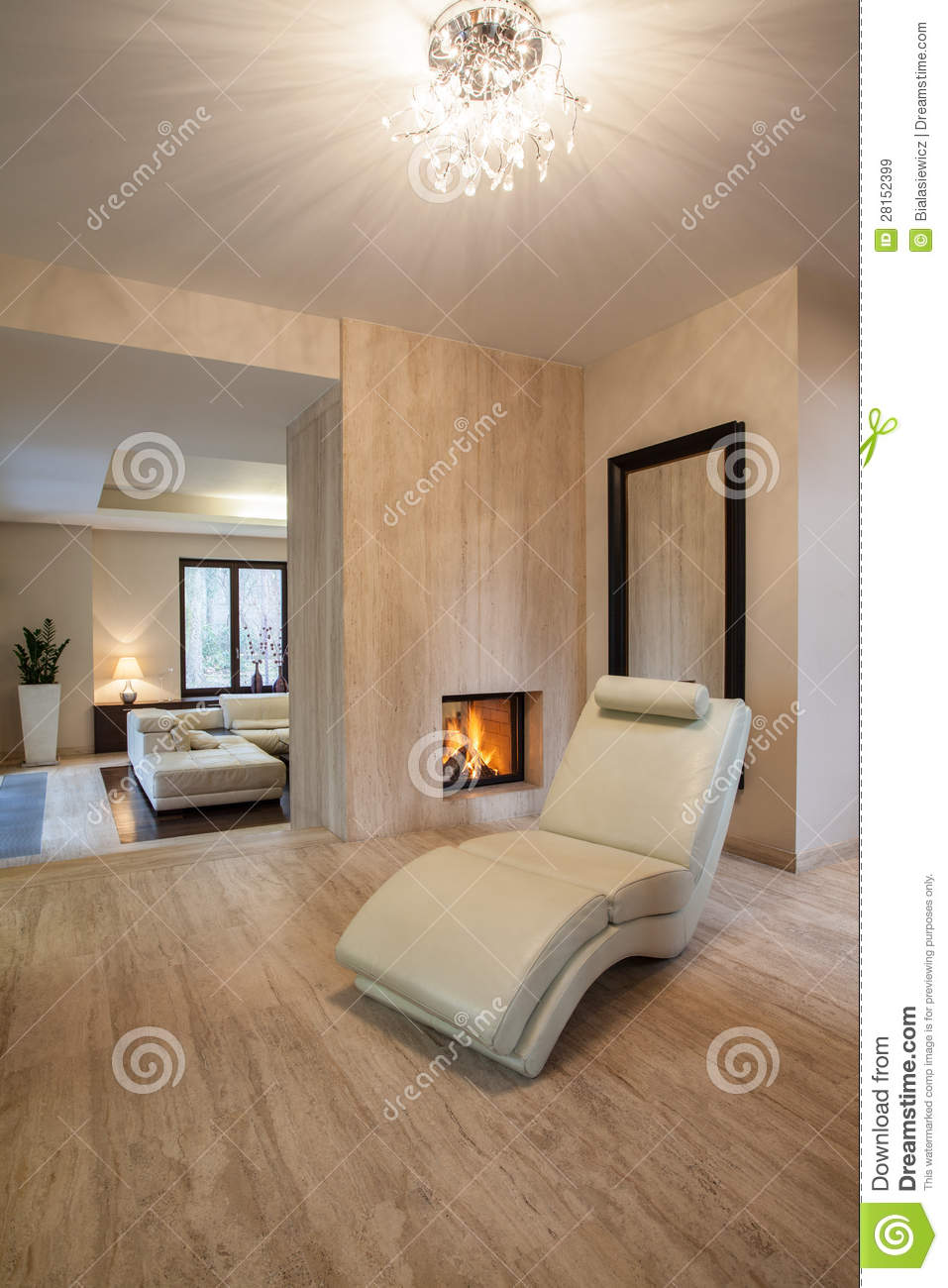 Travertine House: Beige Living Room Royalty-Free Stock