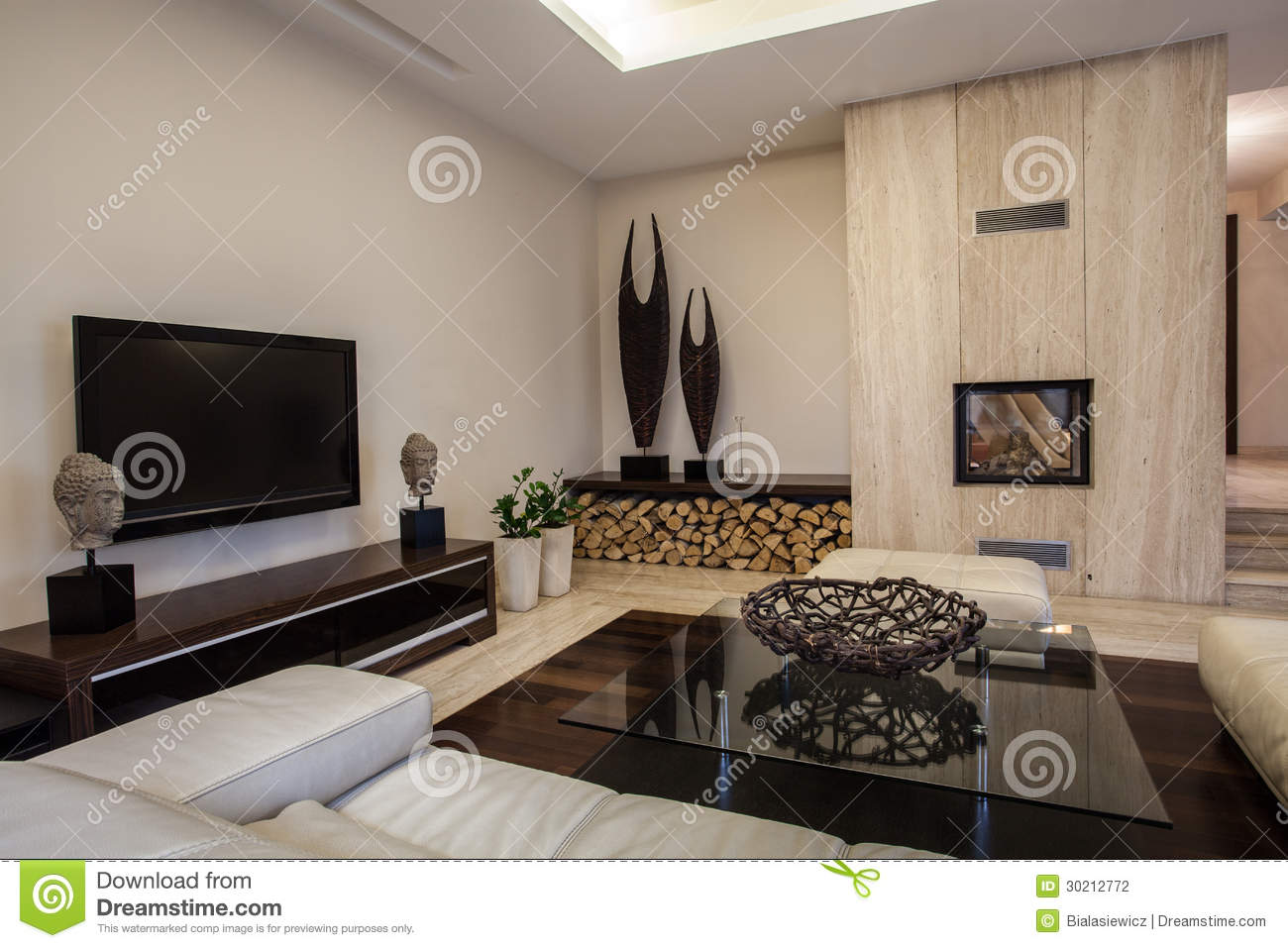 travertine house: braided decoration interior stock photography