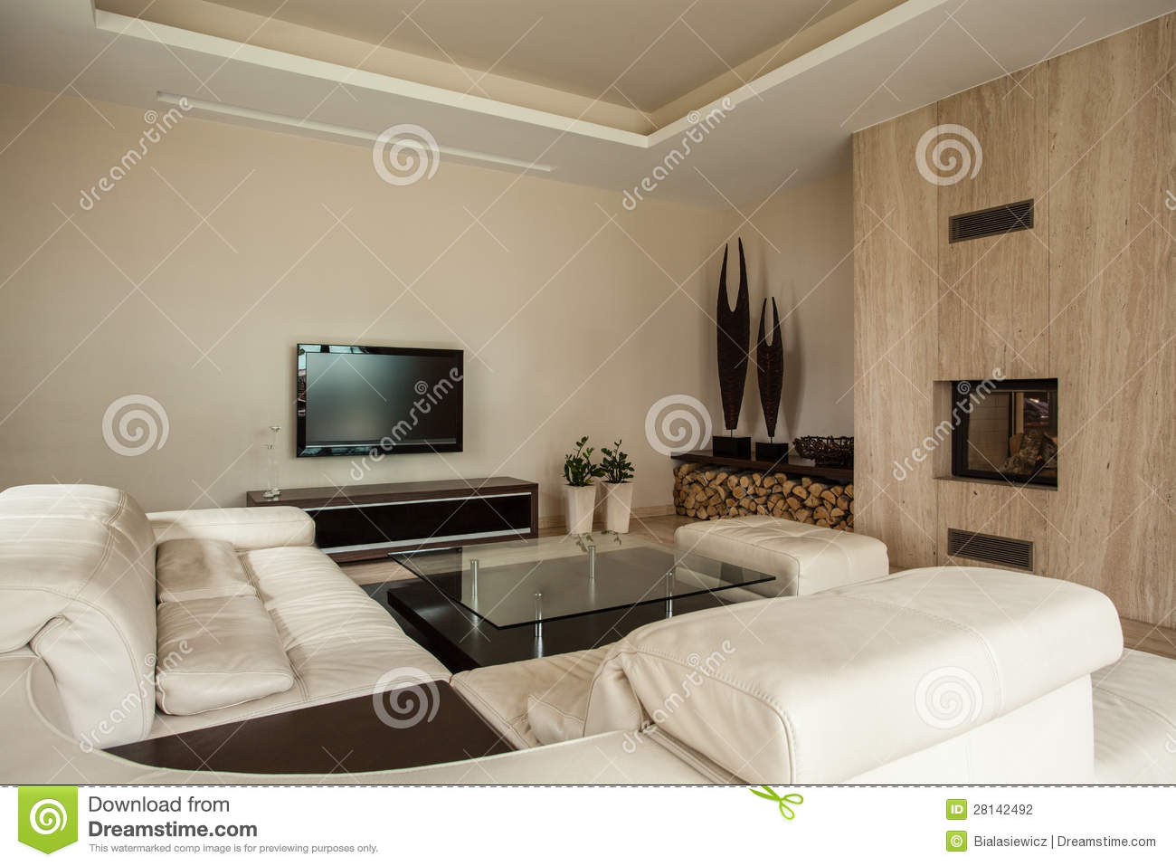 Travertine House Fireplace In Living Room Stock Photography