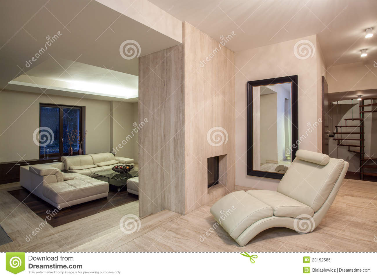 travertine house - living room with a fireplace royalty free stock
