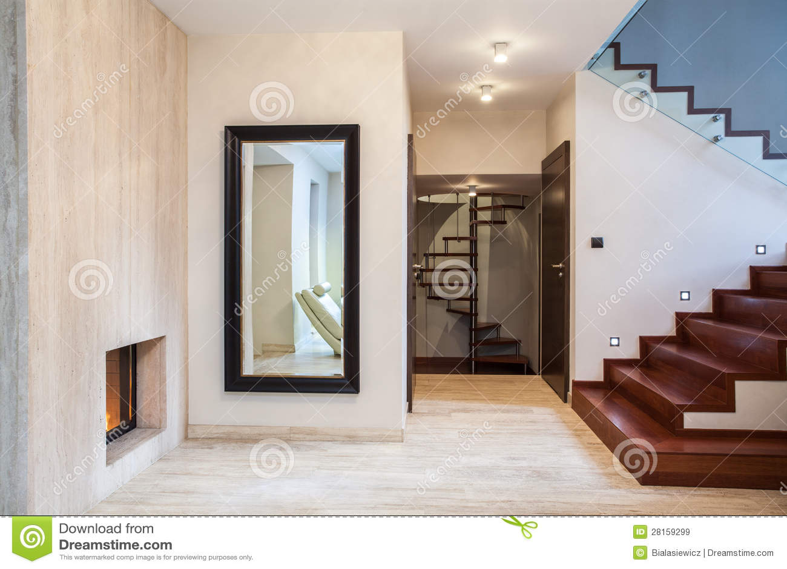 Travertine House: Mirror And Stairs Stock Image