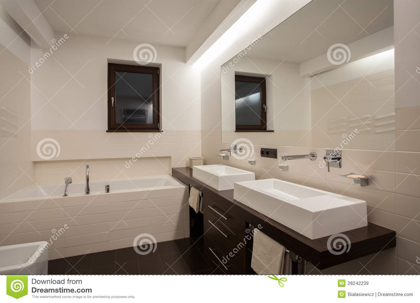 travertine house modern bathroom stock image image 28242239. Black Bedroom Furniture Sets. Home Design Ideas