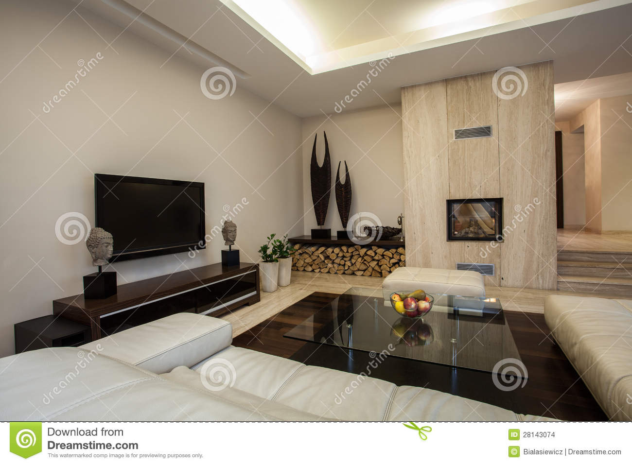 travertine house: spacious living room stock images - image: 28143074