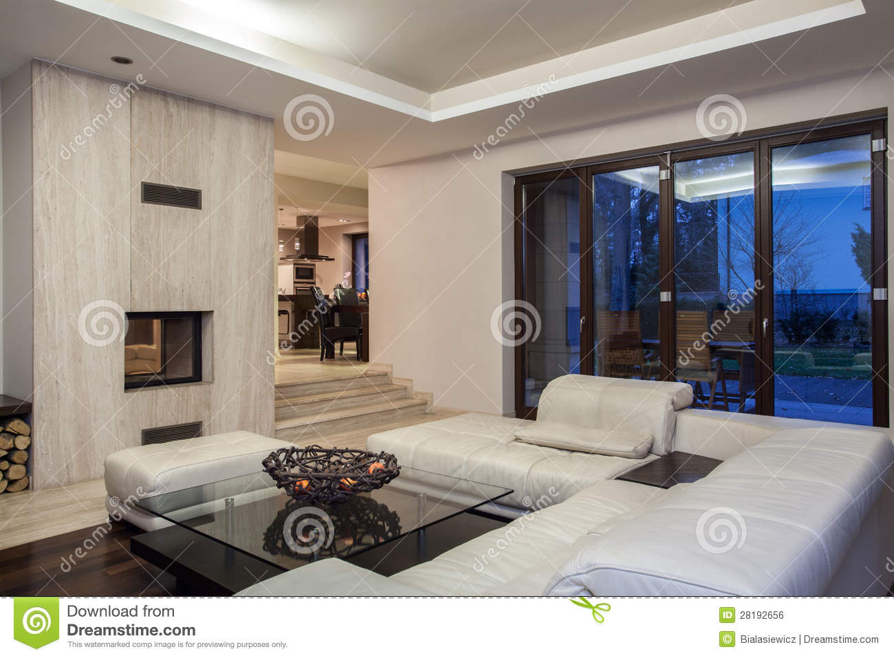 travertine house - spacious living room royalty free stock image
