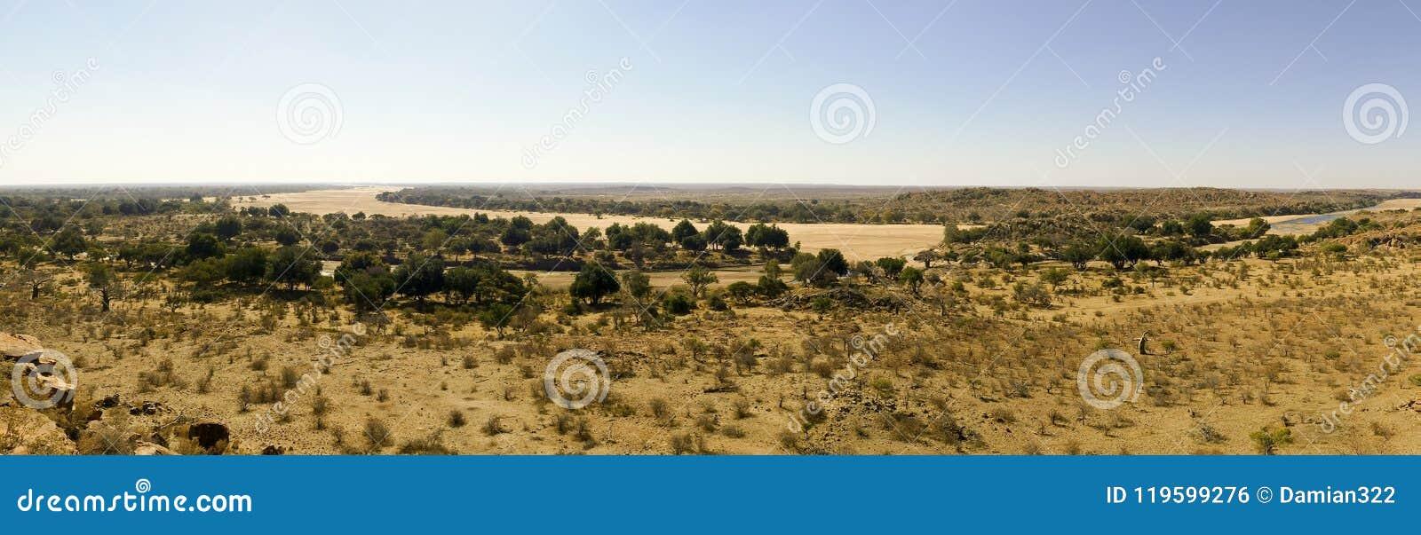 Travesía de río del Limpopo el paisaje del desierto de la nación de Mapungubwe