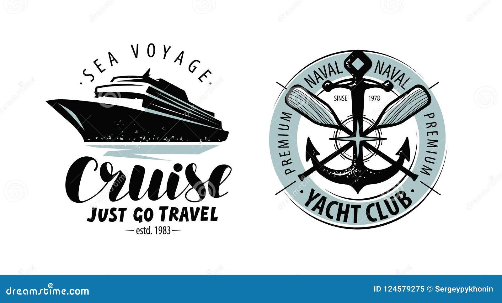 Travesía, logotipo del club náutico o etiqueta Concepto náutico Vector de las letras