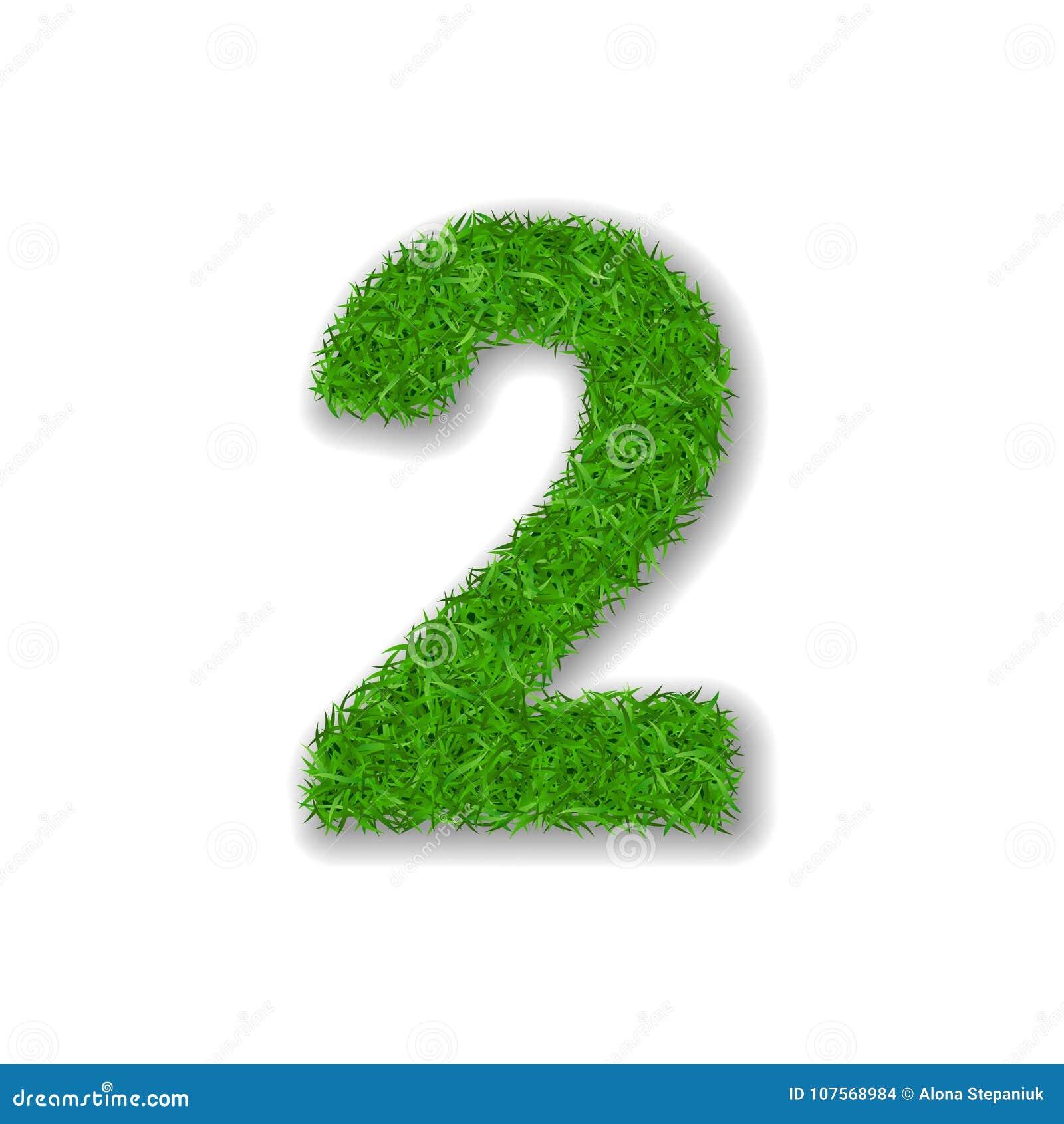 Trawa liczba 2 Zielony 3D numer dwa, odizolowywający na białym tle Zielona trawa 2, symbol świeża natura, roślina gazon