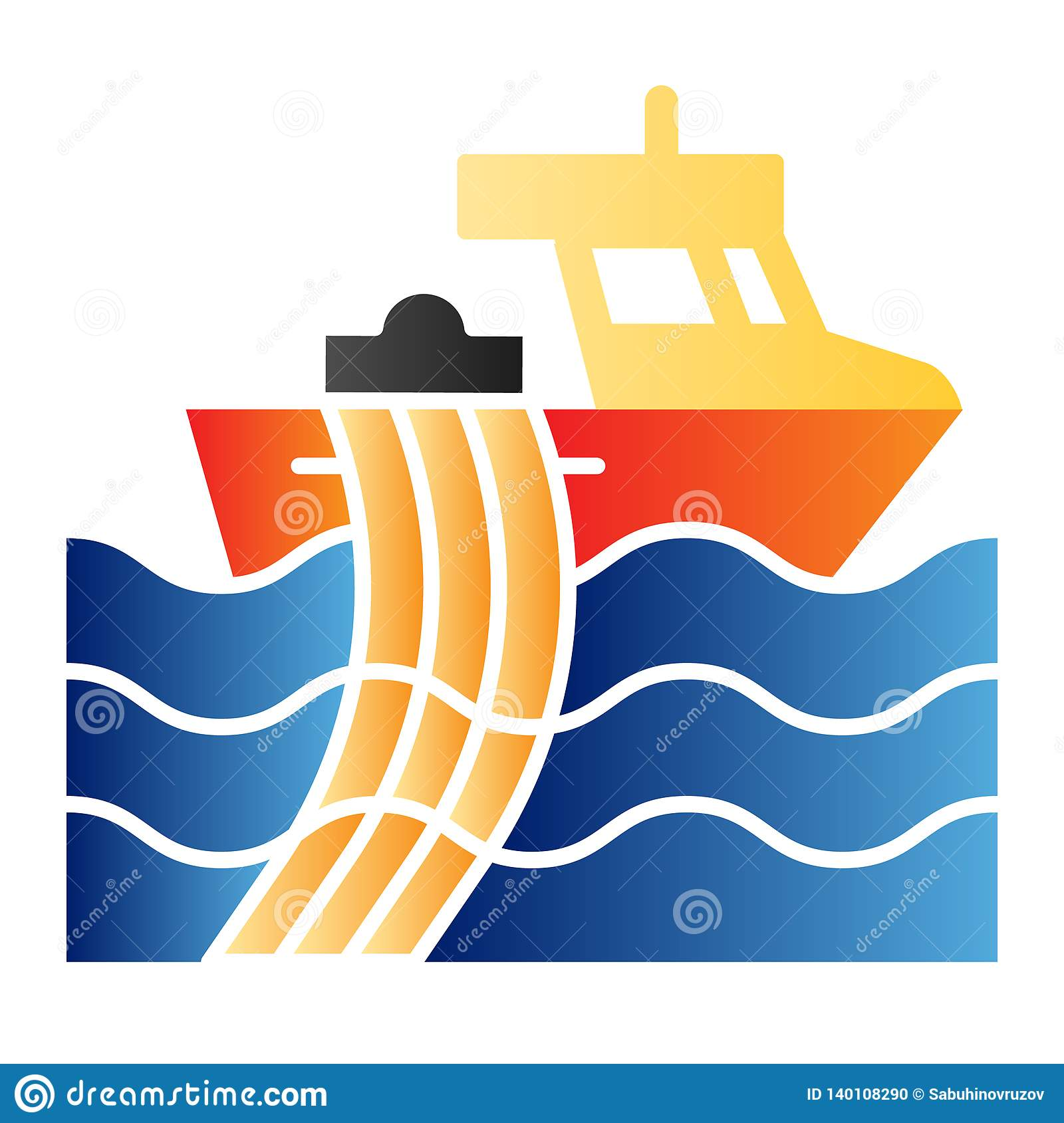 Trawler Flat Icon  Fishing Vessel Color Icons In Trendy Flat Style