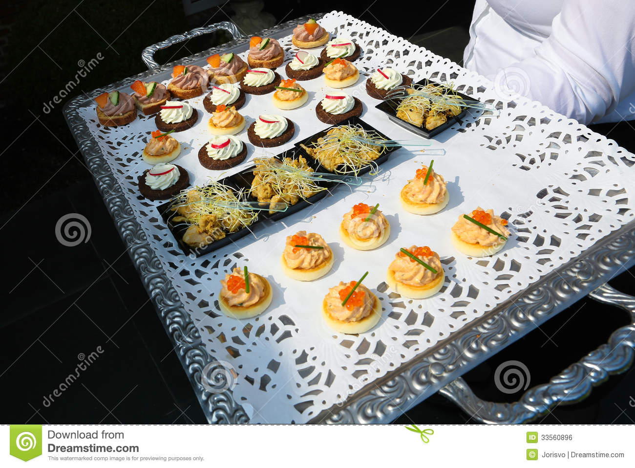 Tray With Appetizers Stock Photo Image Of Reception 33560896