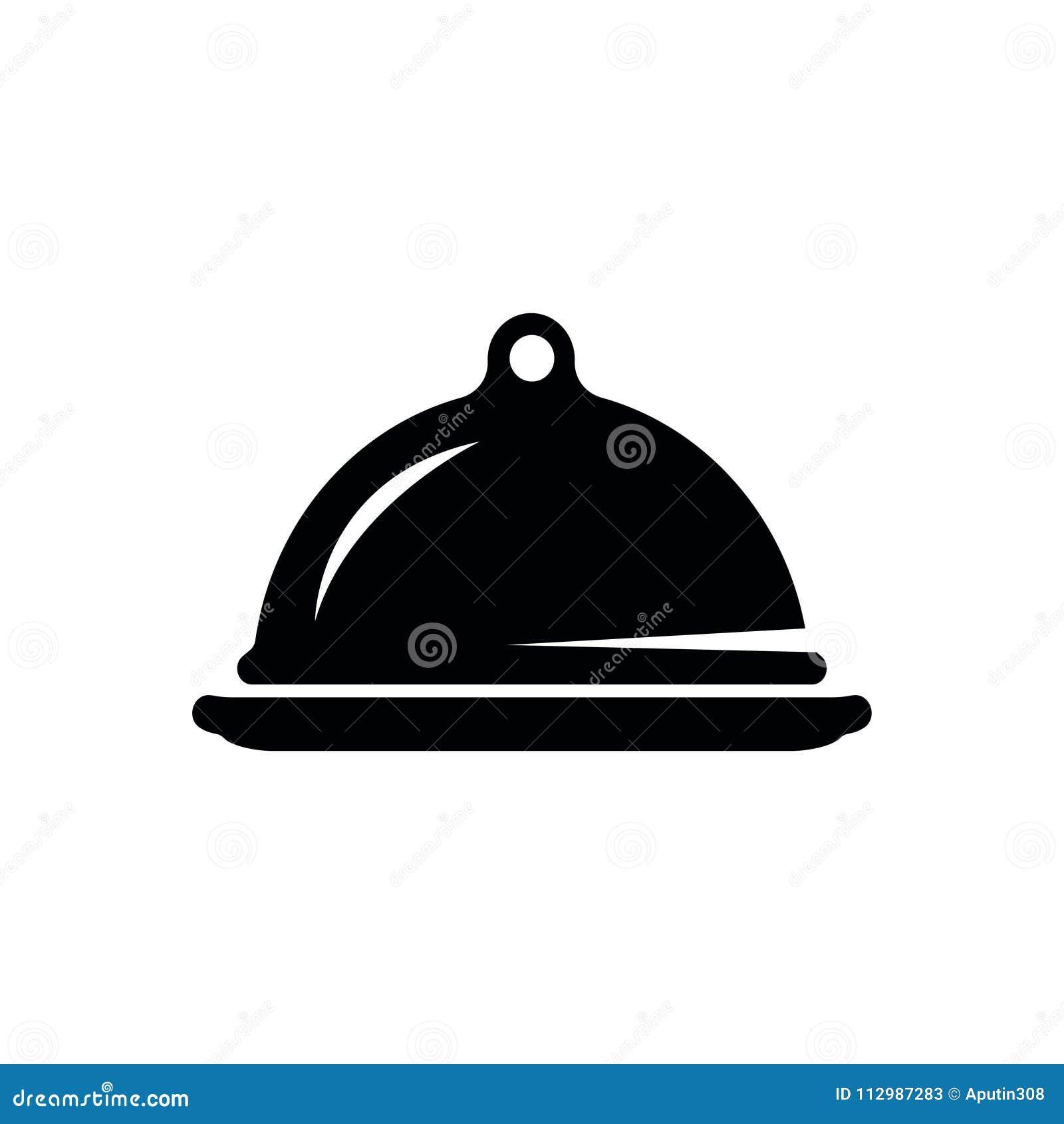 Tray-dish web icon vector. black isolated