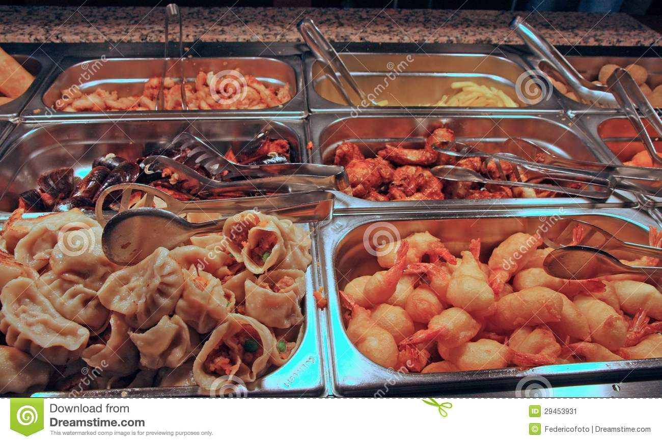 Tray Filled With Food Inside The Self Service Chinese